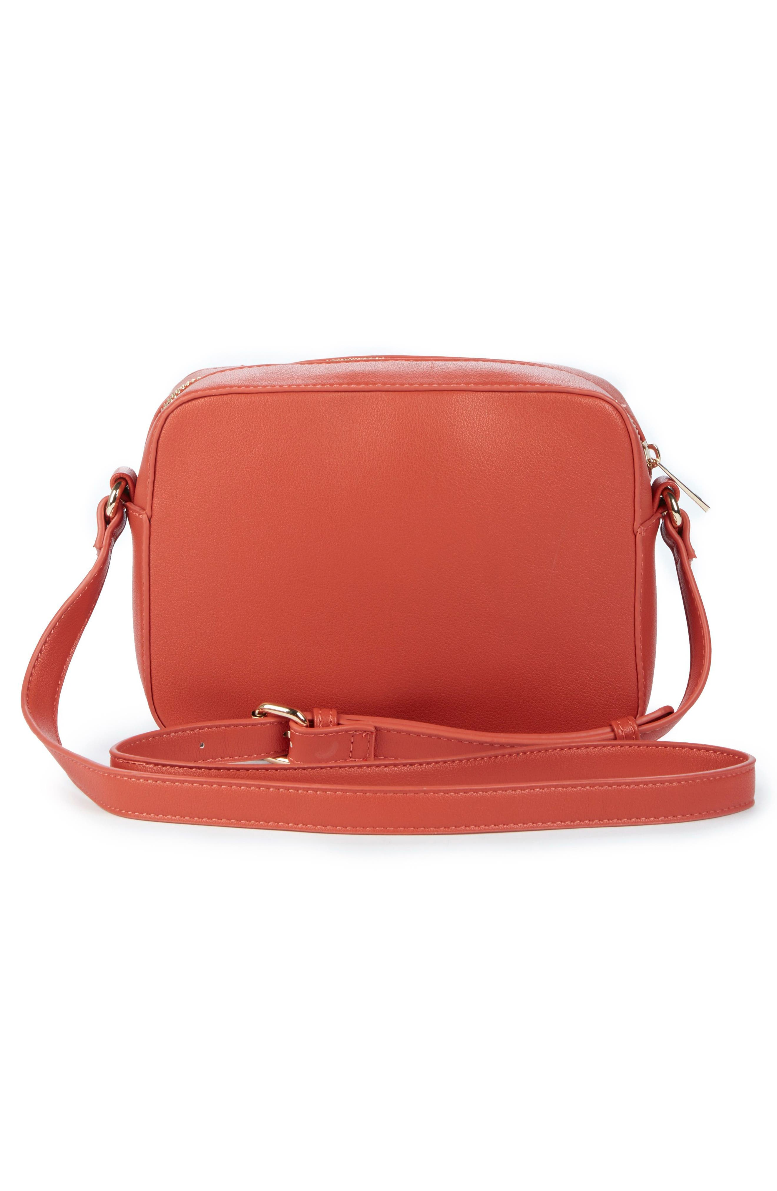 Hand Woven Faux Leather Crossbody Bag,                             Alternate thumbnail 2, color,                             Coral