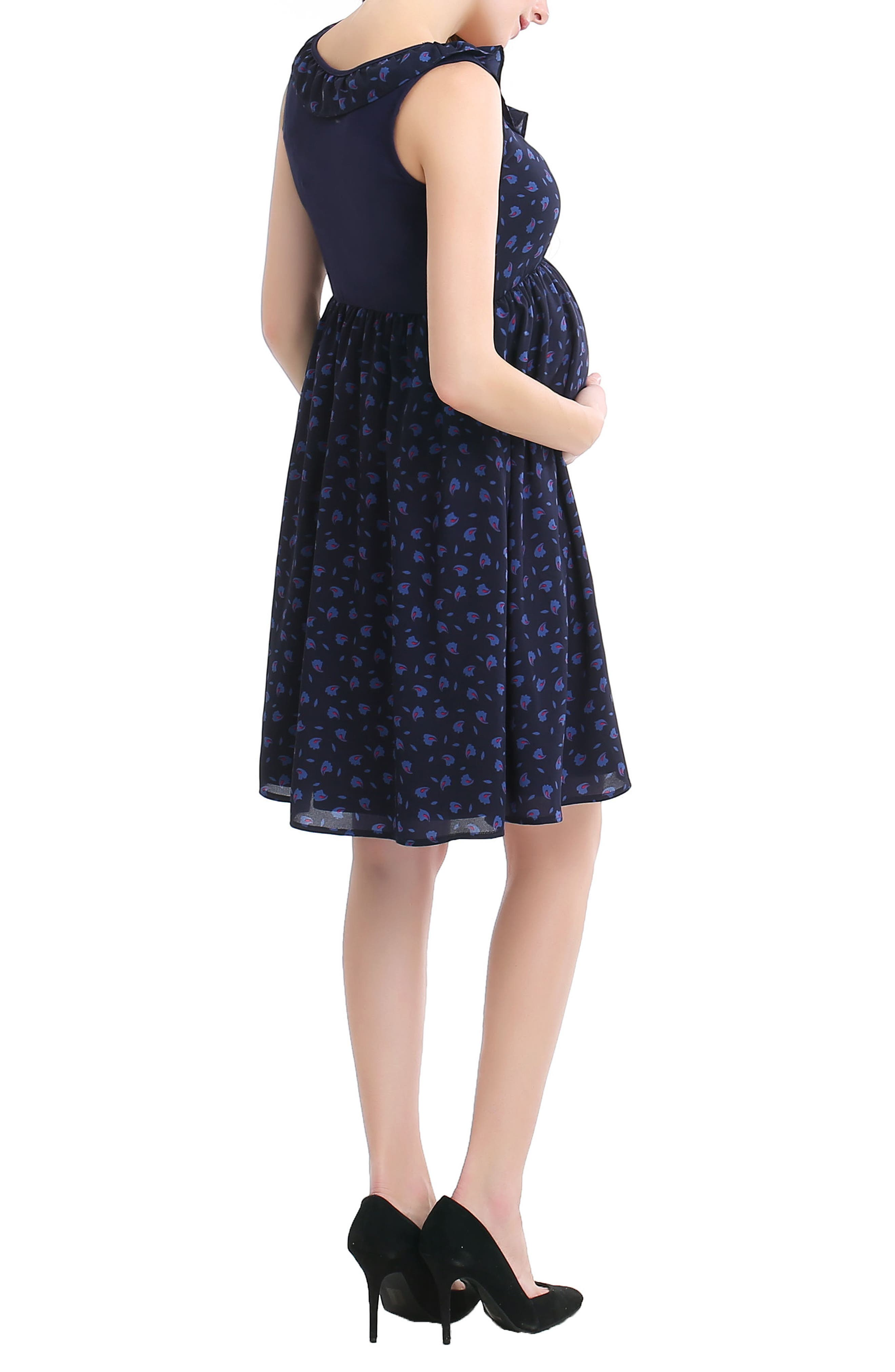 Brooke Print Skater Maternity Dress,                             Alternate thumbnail 2, color,                             Navy