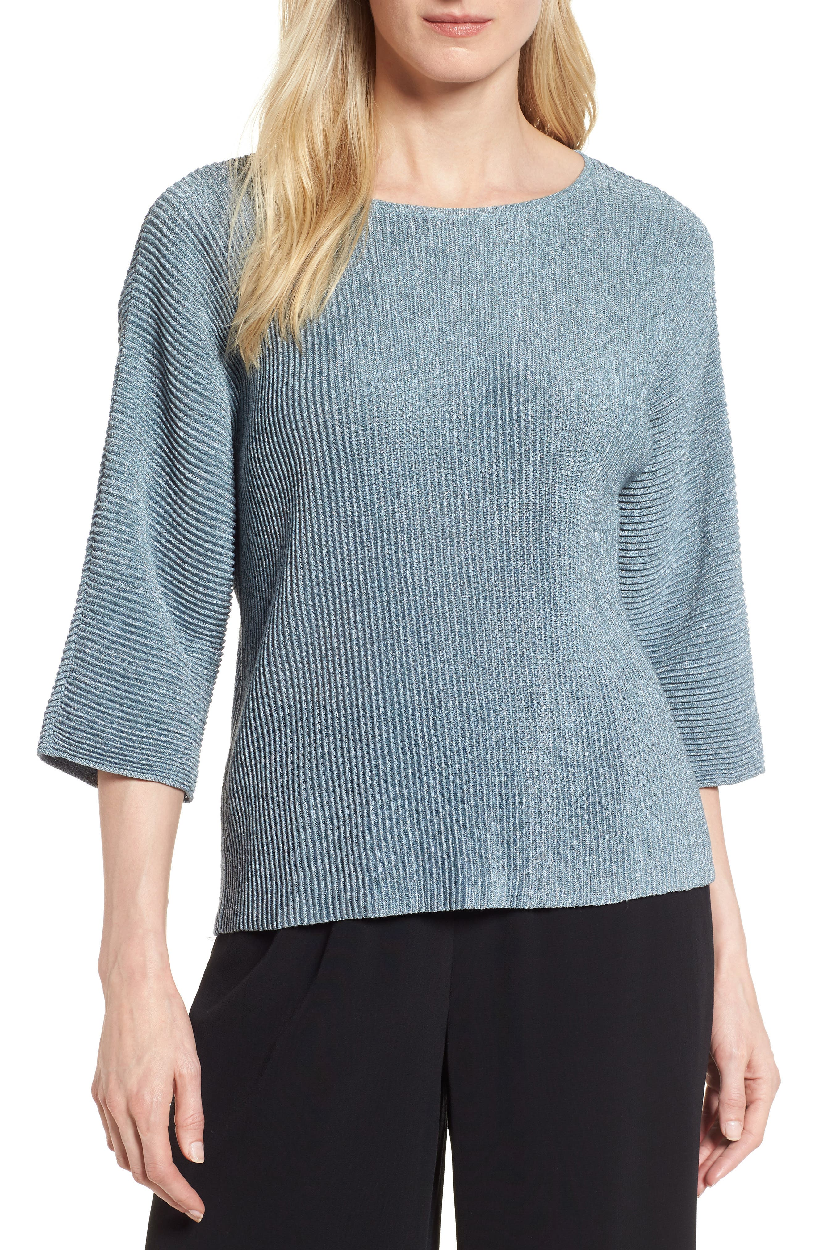 Metallic Hemp Blend Sweater,                             Main thumbnail 1, color,                             Blue Steel