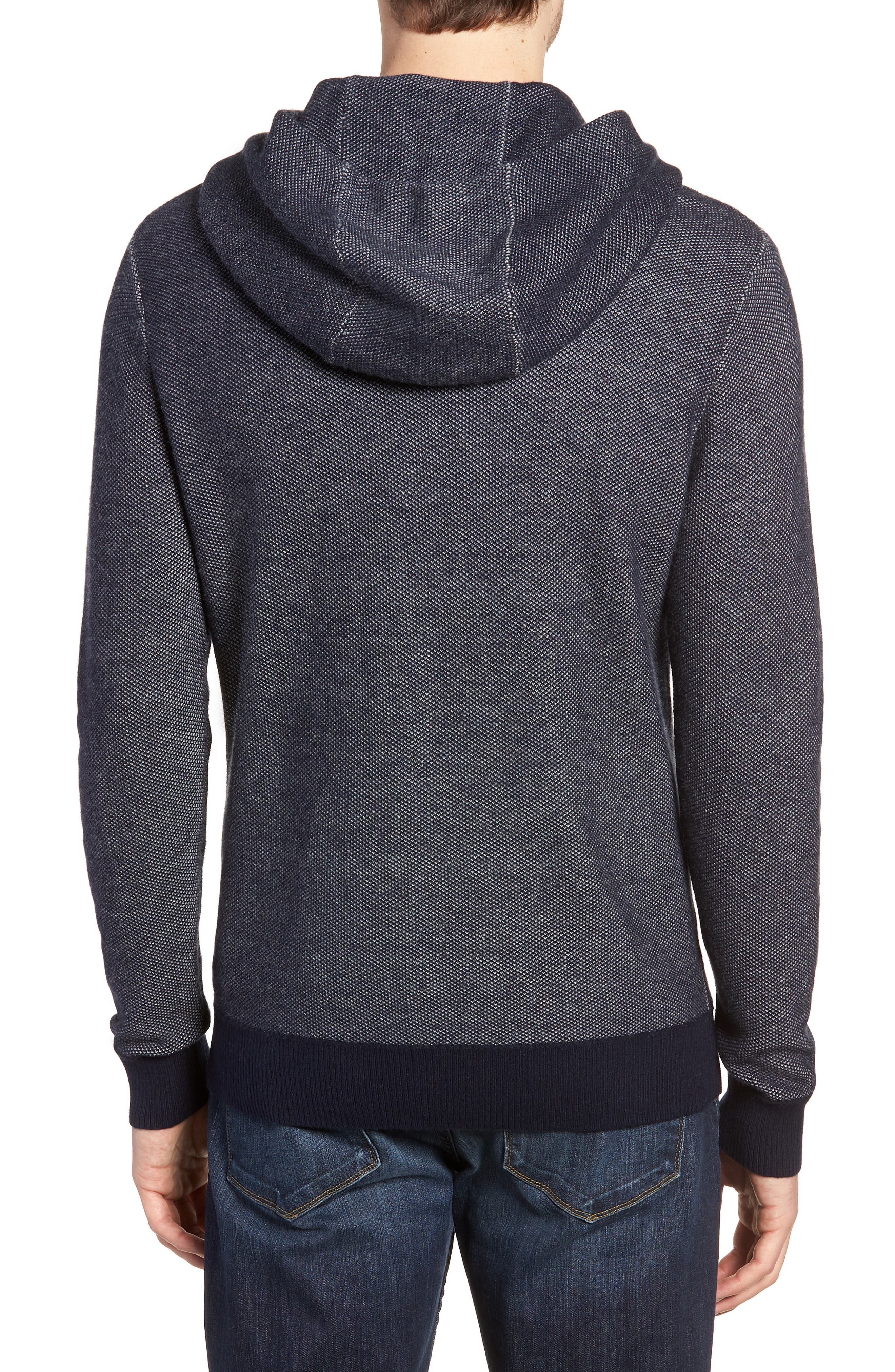 Cotton & Cashmere Hoodie,                             Alternate thumbnail 2, color,                             Midnight Blue/ Heather Silver