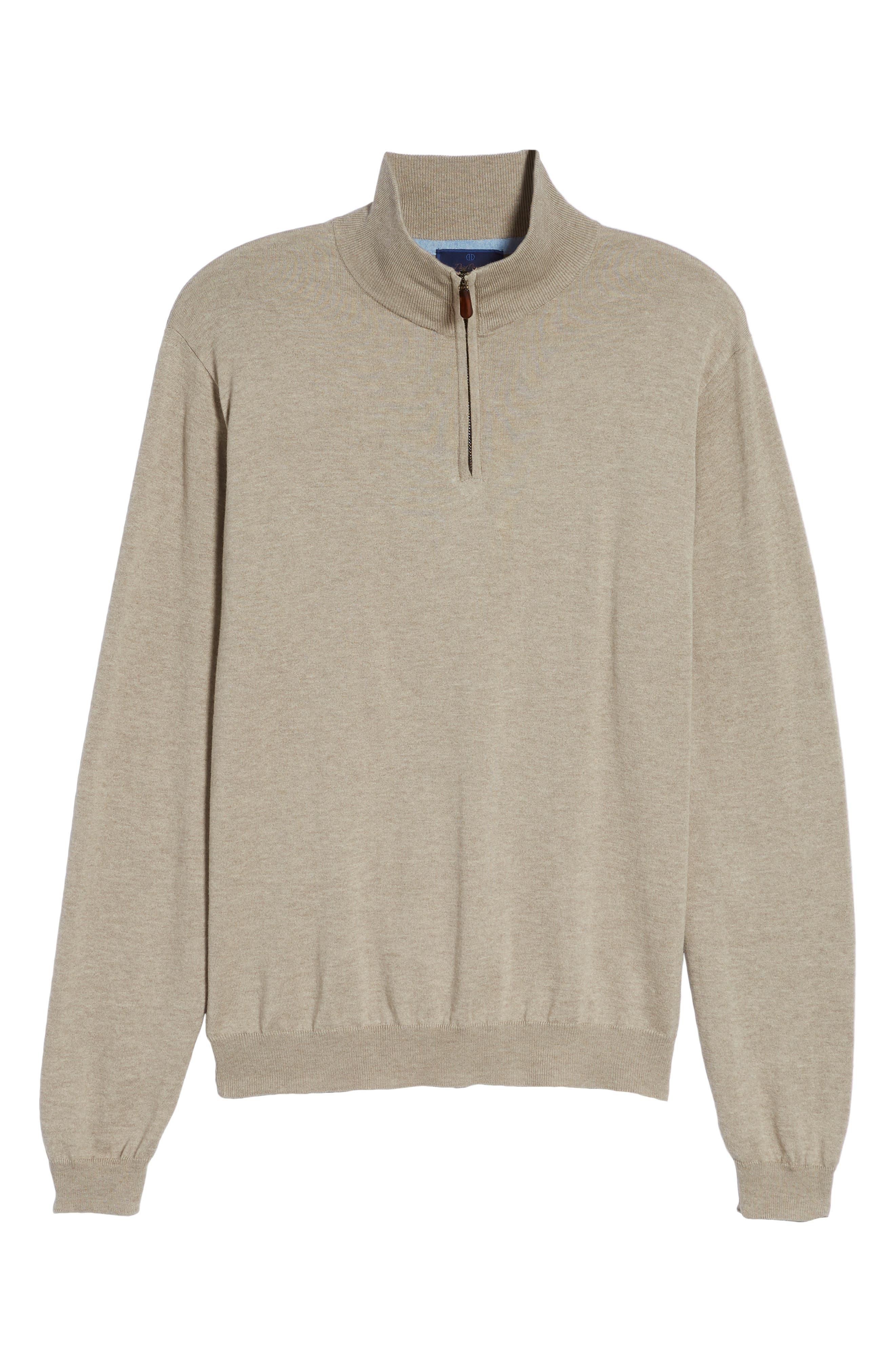 Cotton & Silk Quarter Zip Pullover,                             Alternate thumbnail 6, color,                             Dune