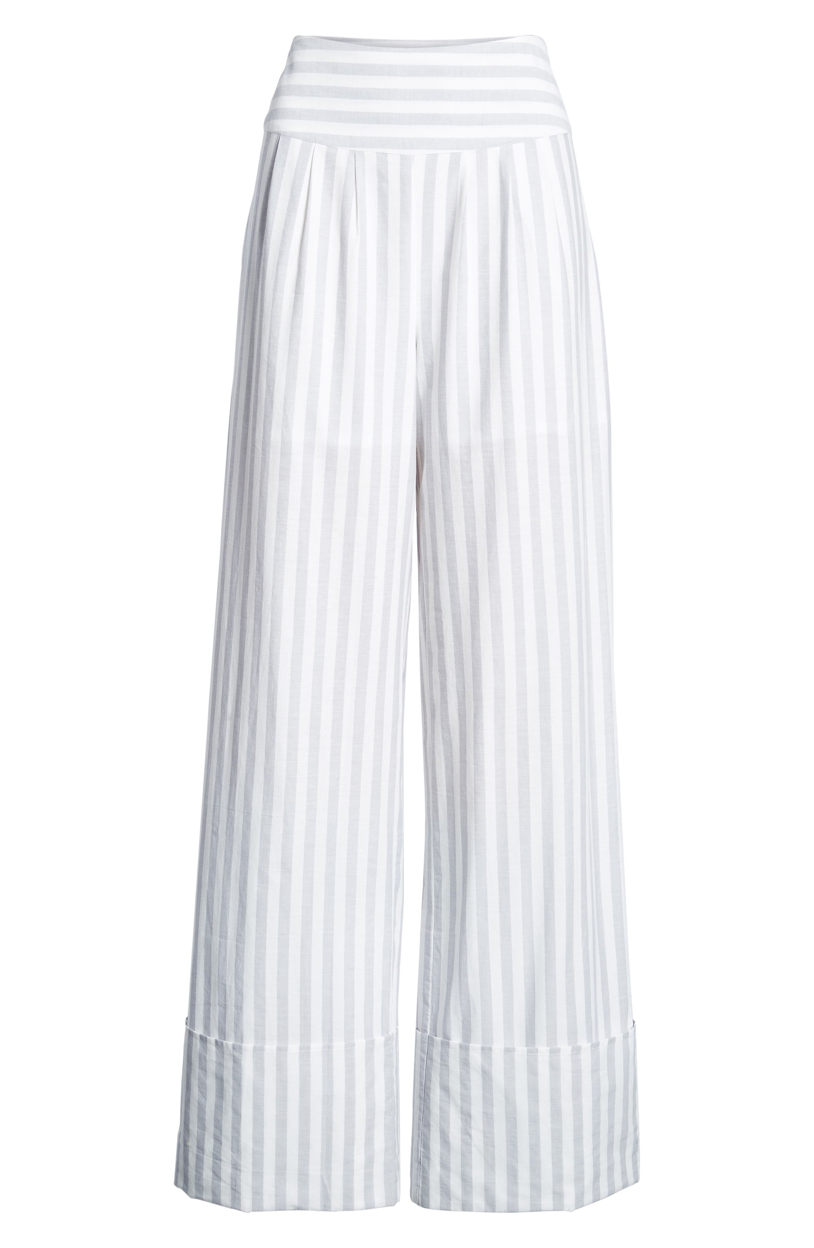 Wide Turn Up Stripe Trouser,                             Alternate thumbnail 8, color,                             Light Grey