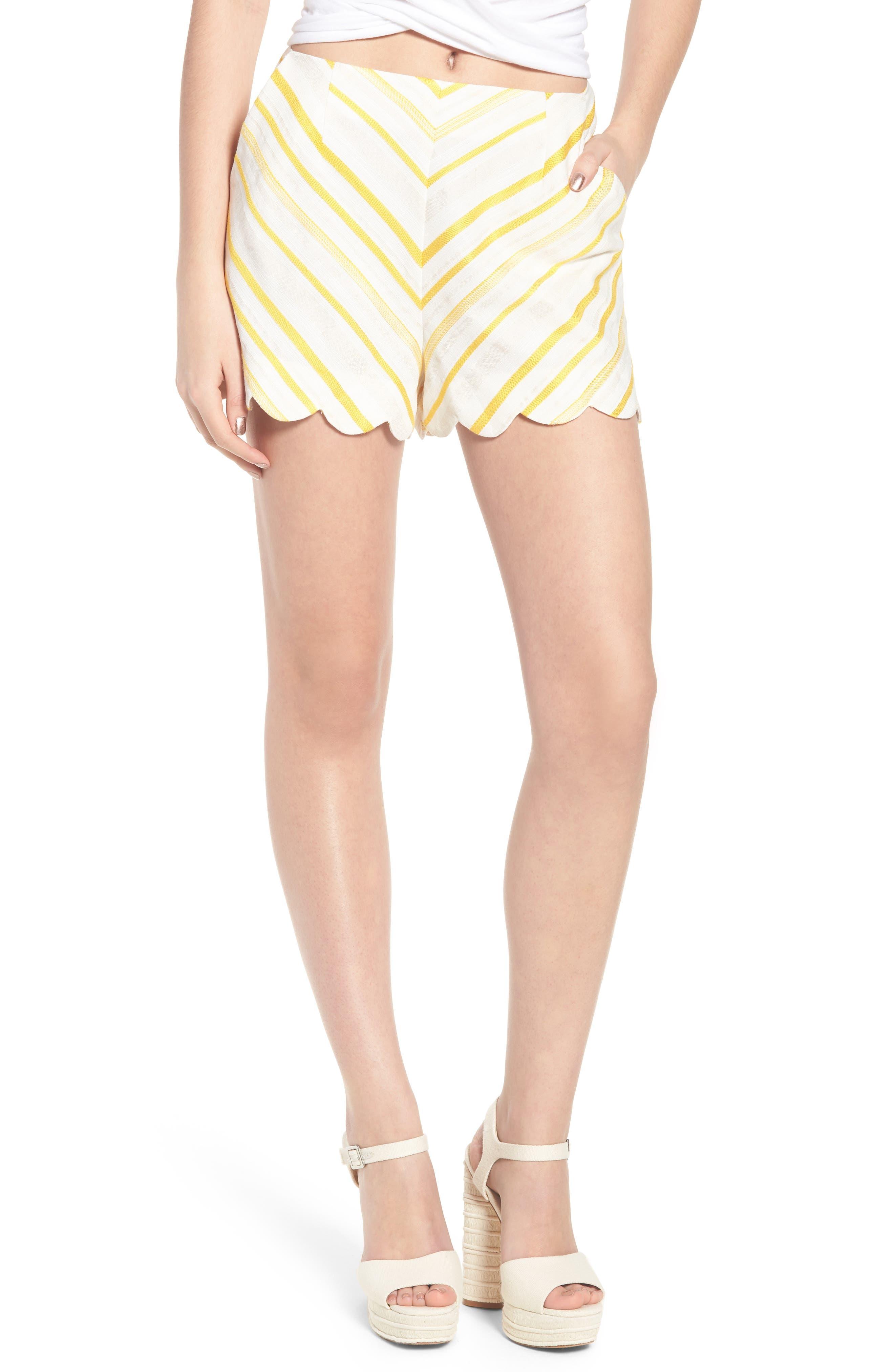 Scallop Shorts,                             Main thumbnail 1, color,                             Cream Yellow