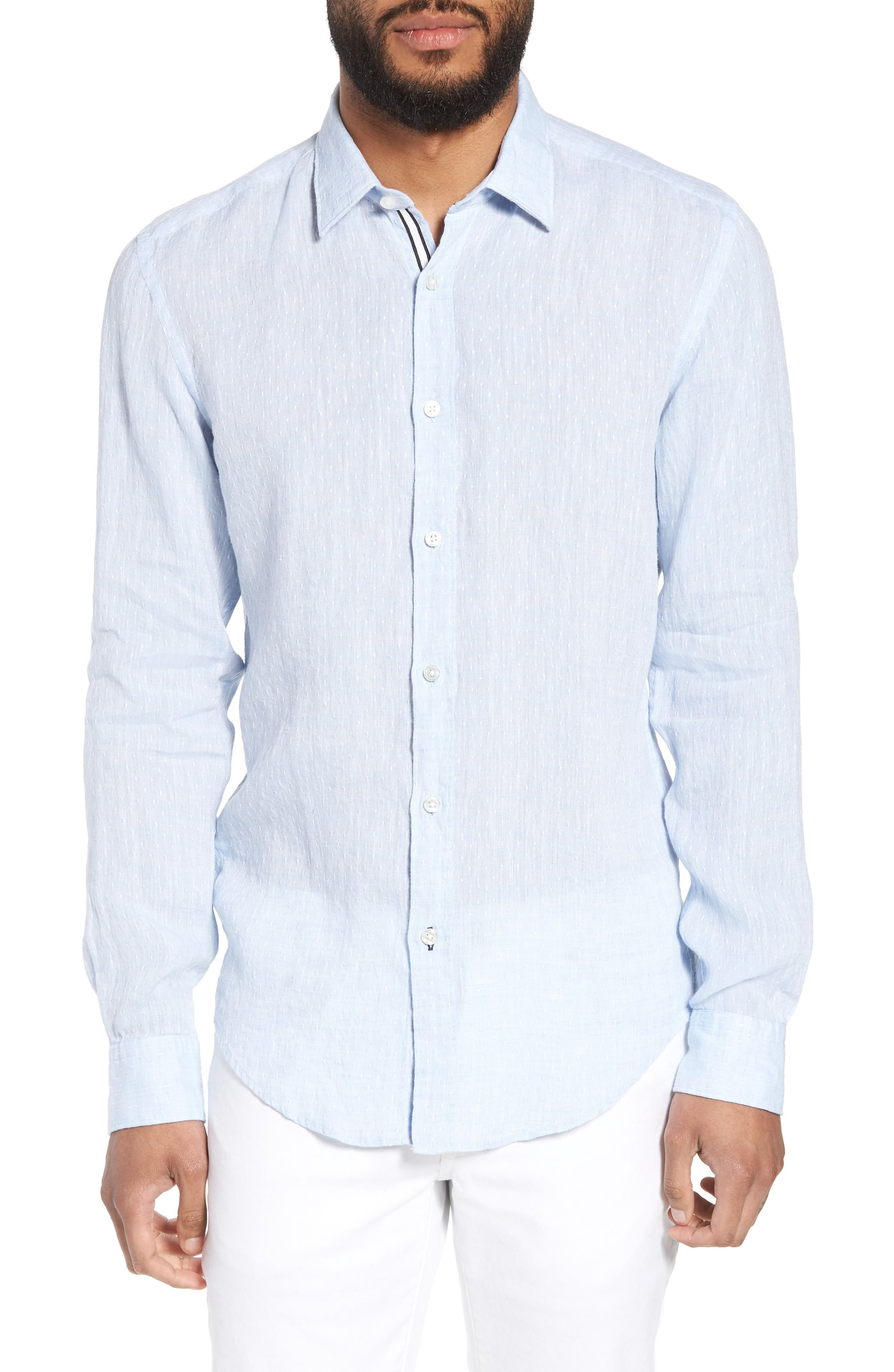 Ronni Slim Fit Dobby Linen Sport Shirt,                         Main,                         color, Blue