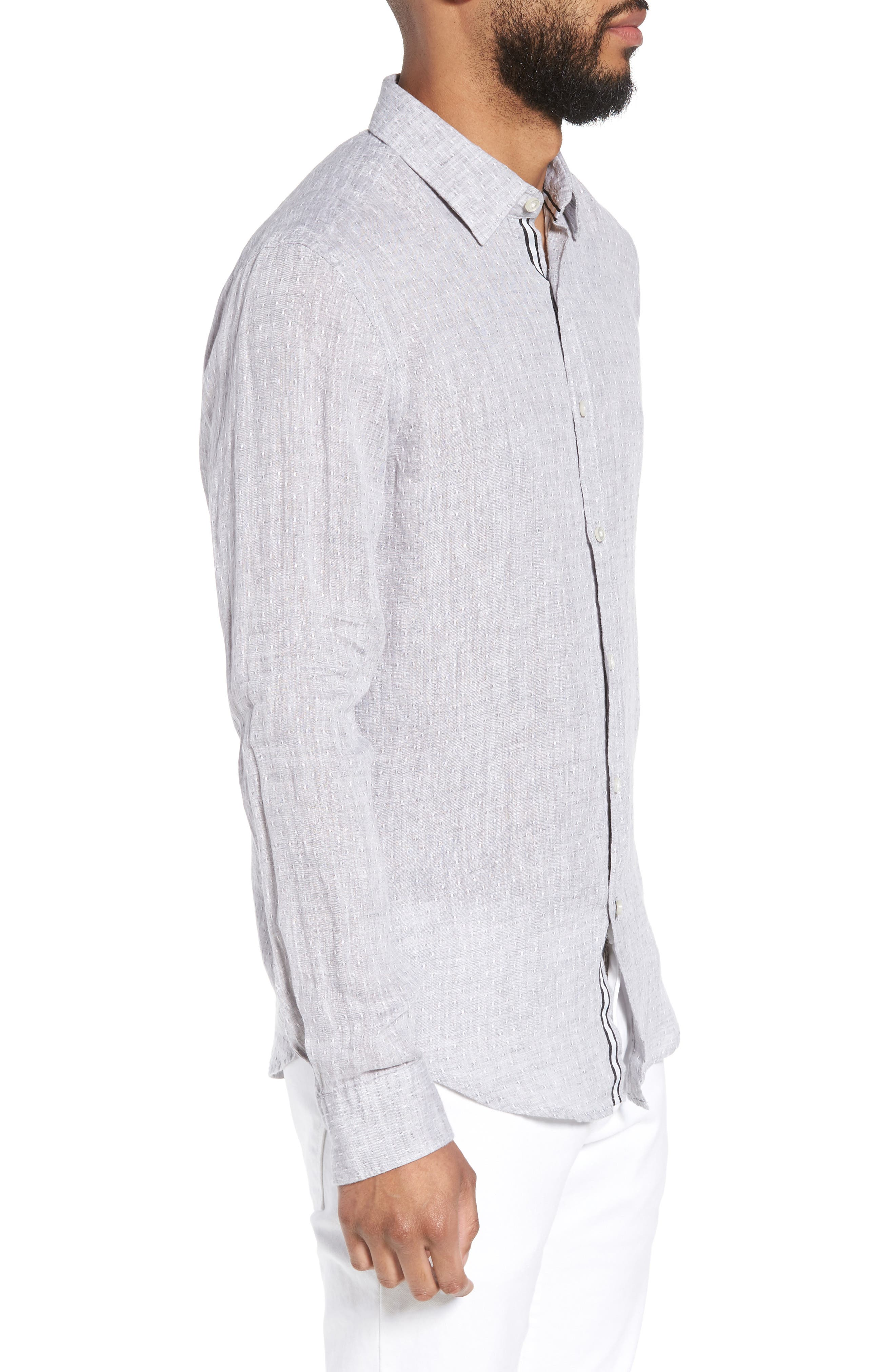 Ronni Slim Fit Dobby Linen Sport Shirt,                             Alternate thumbnail 4, color,                             Grey