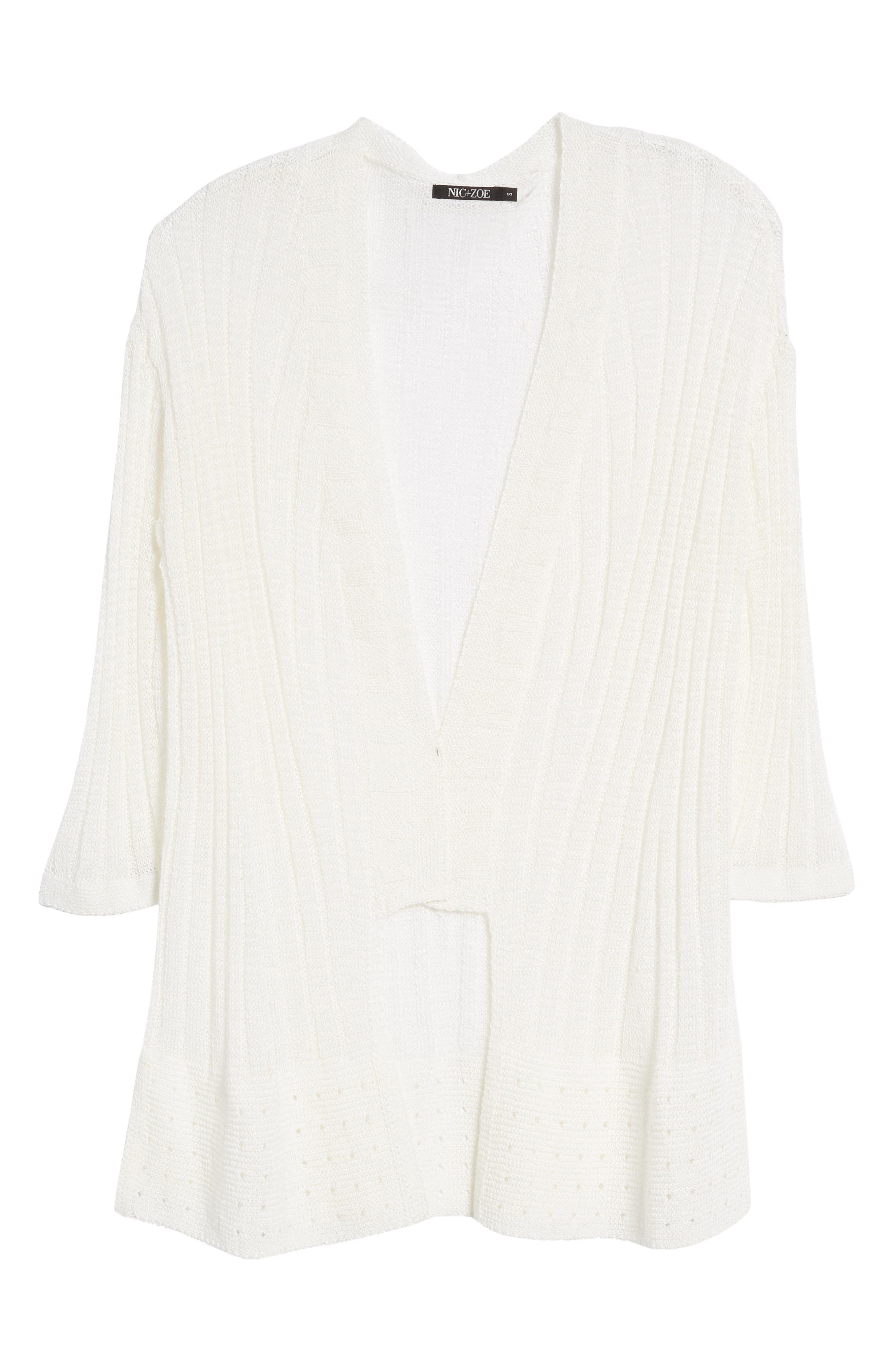 Changing Tides Linen Blend Open Front Cardigan,                             Alternate thumbnail 7, color,                             Milk White