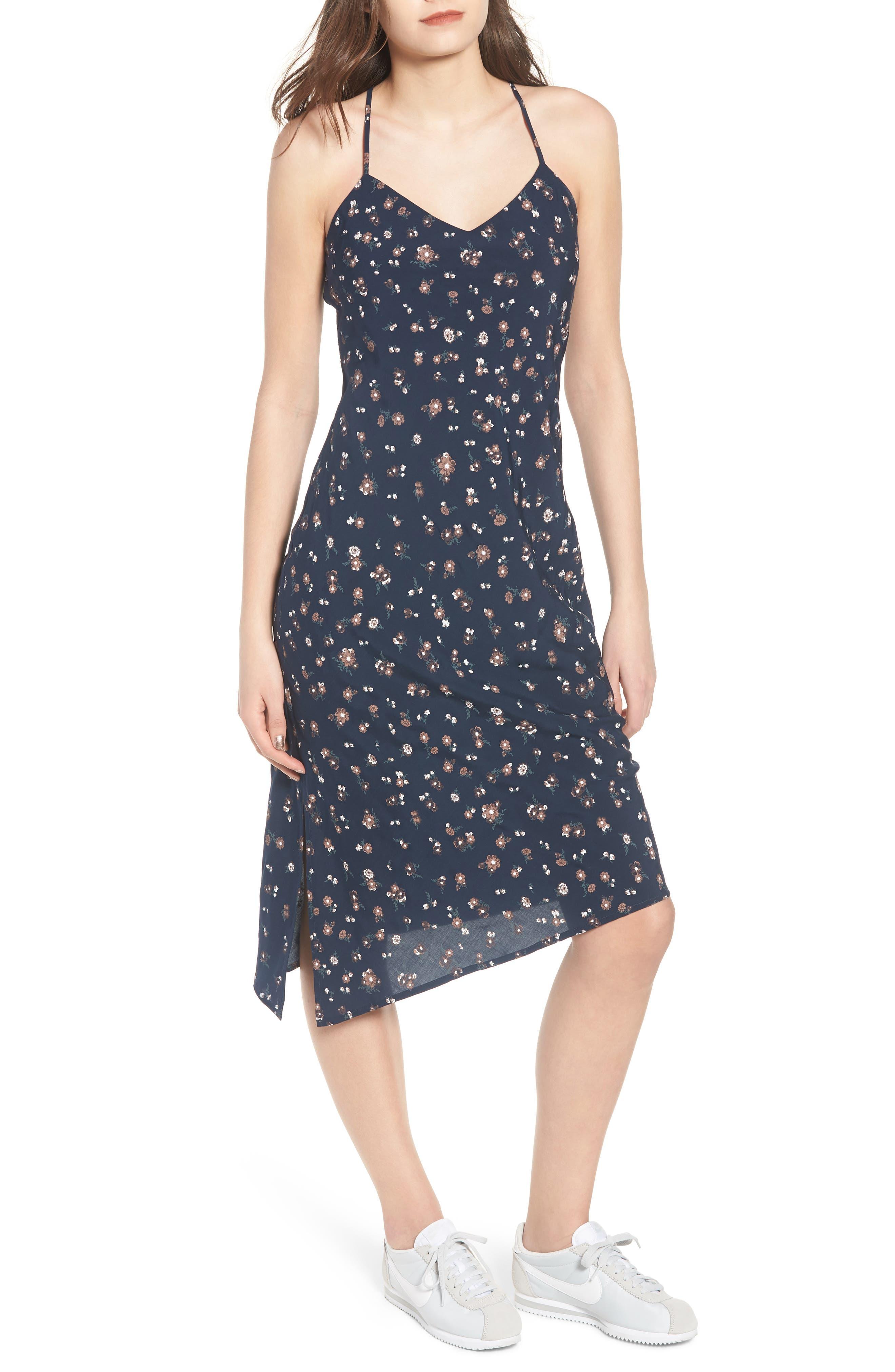 Scarlett Print Midi Dress,                             Main thumbnail 1, color,                             Navy Multi