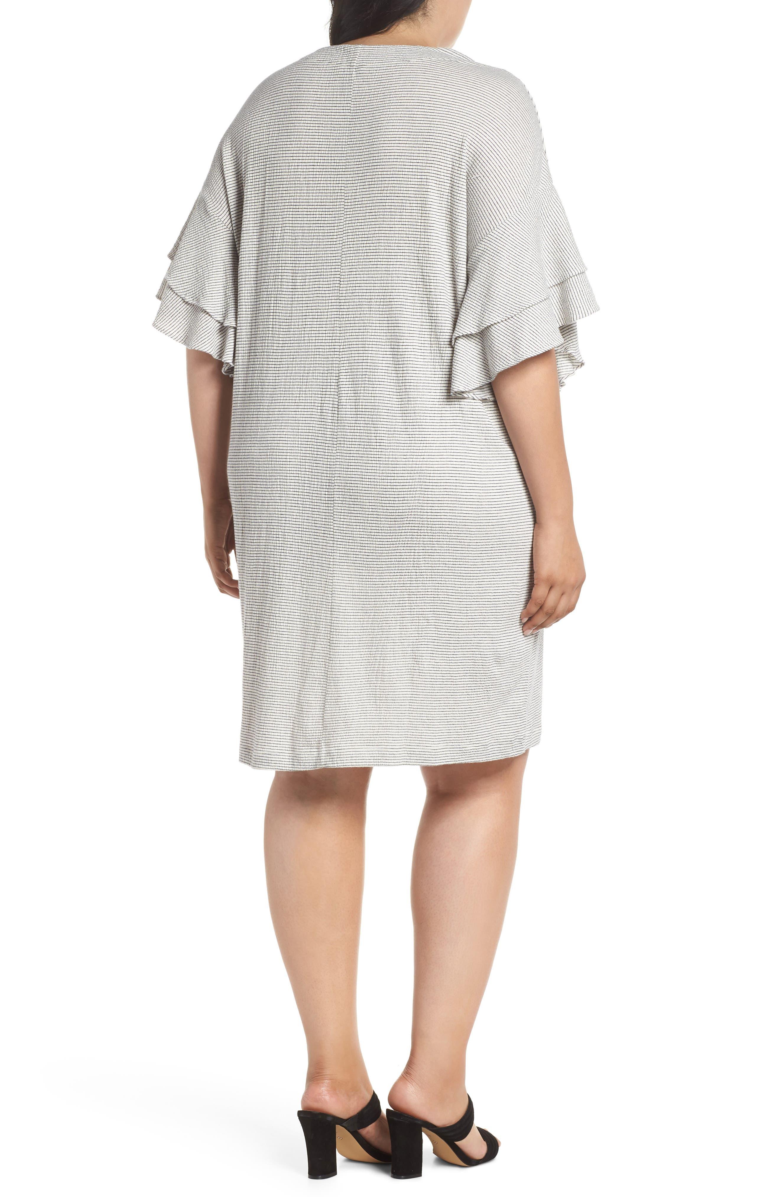 Alternate Image 2  - Lucky Brand Stripe Ruffle Minidress (Plus Size)