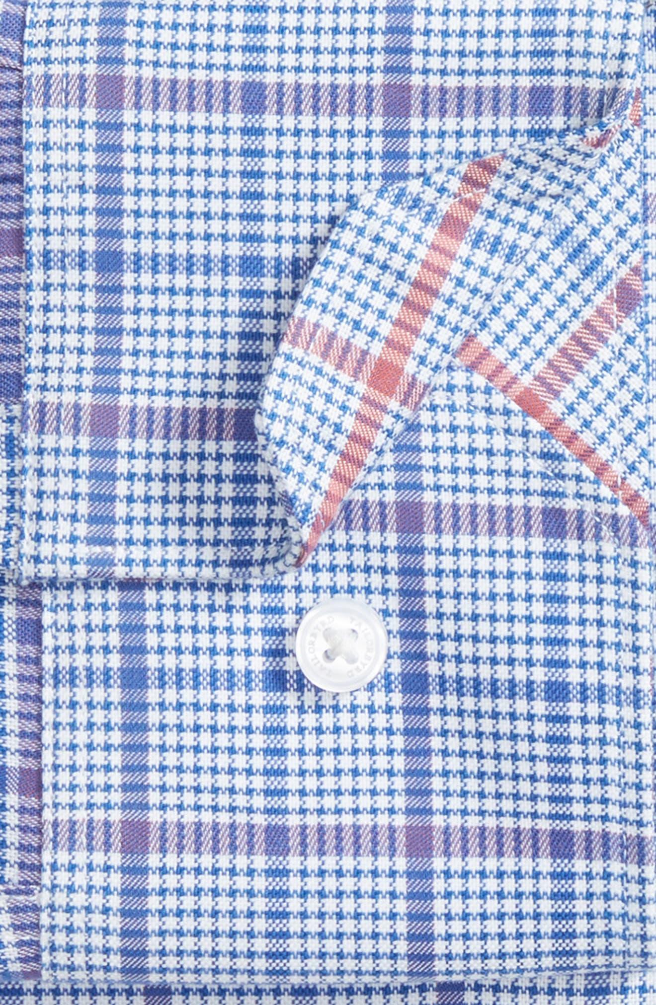 Kaden Trim Fit Plaid Dress Shirt,                             Alternate thumbnail 5, color,                             Royal