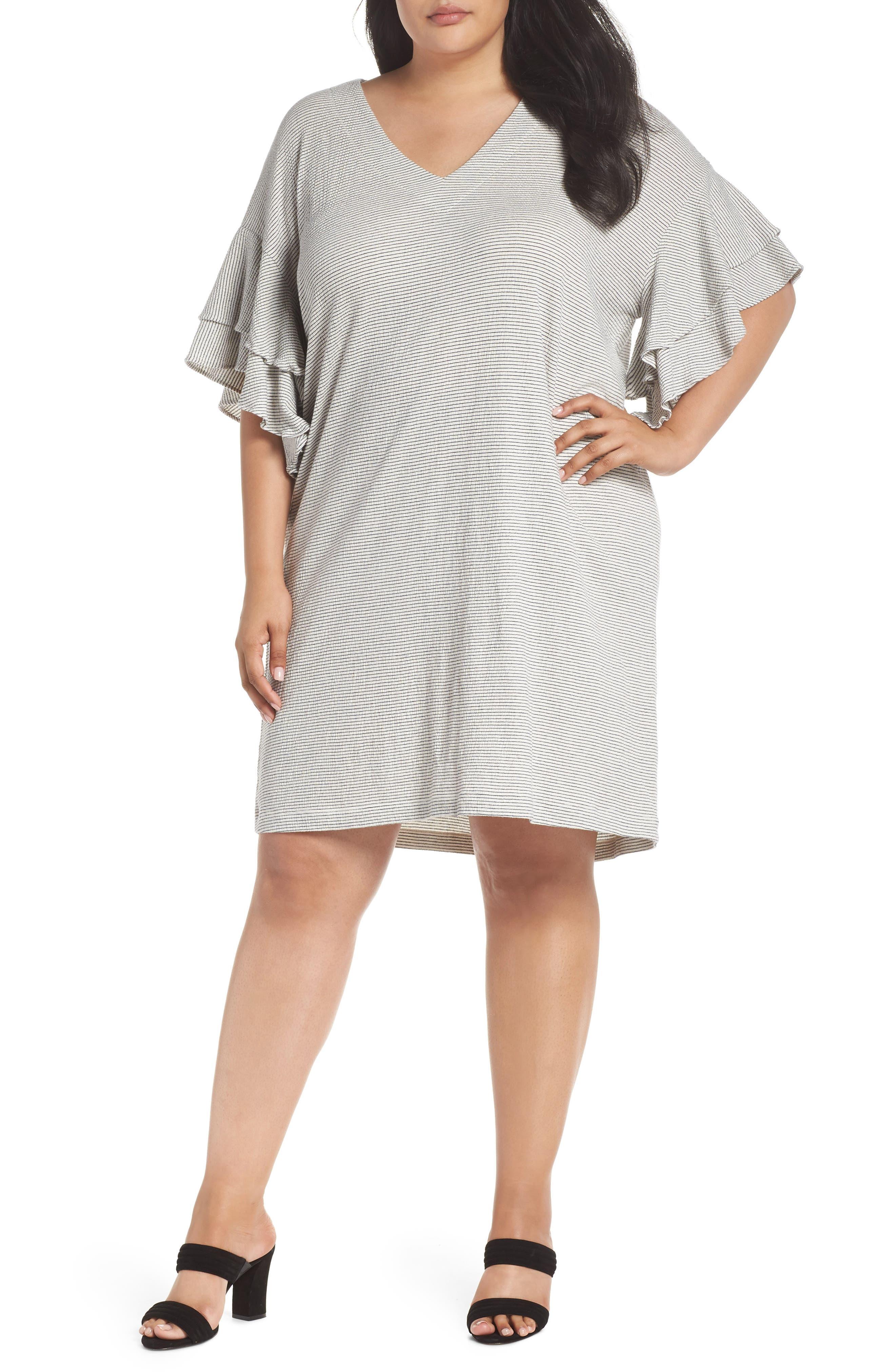 Alternate Image 1 Selected - Lucky Brand Stripe Ruffle Minidress (Plus Size)