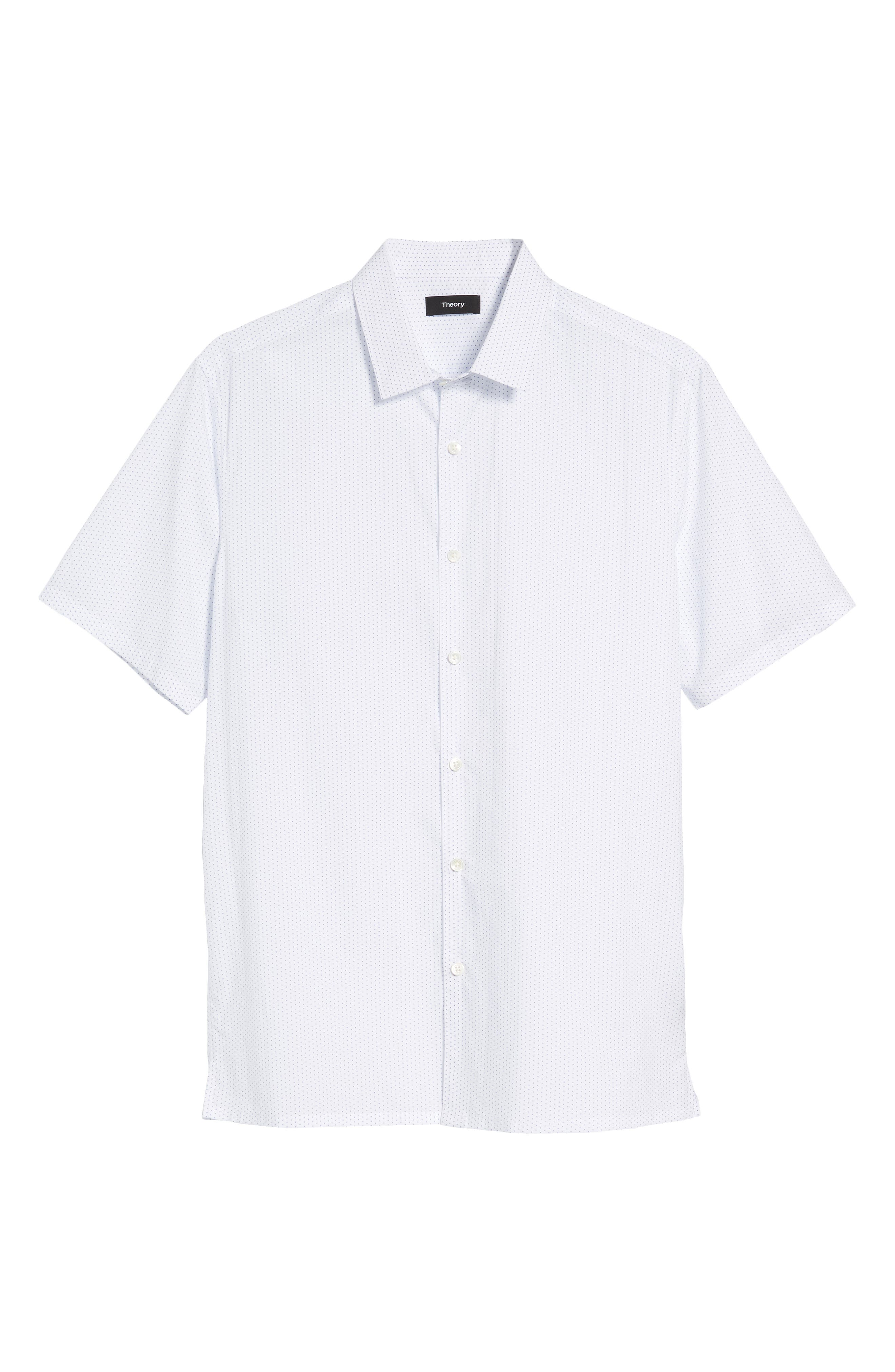 Murrary Trim Fit Dot Short Sleeve Sport Shirt,                             Alternate thumbnail 6, color,                             White