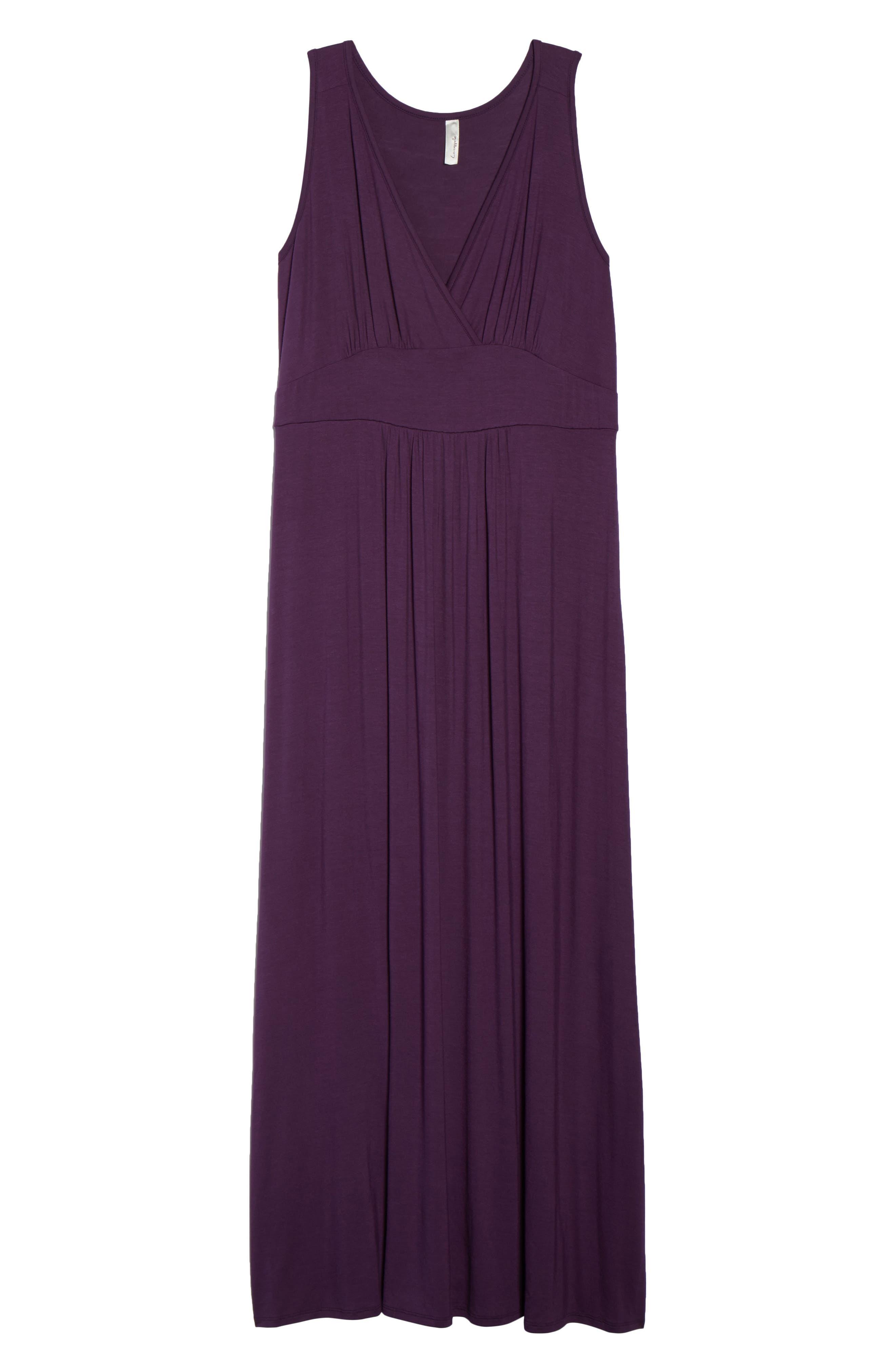 Surplice Maxi Dress,                             Alternate thumbnail 6, color,                             Purple Dark
