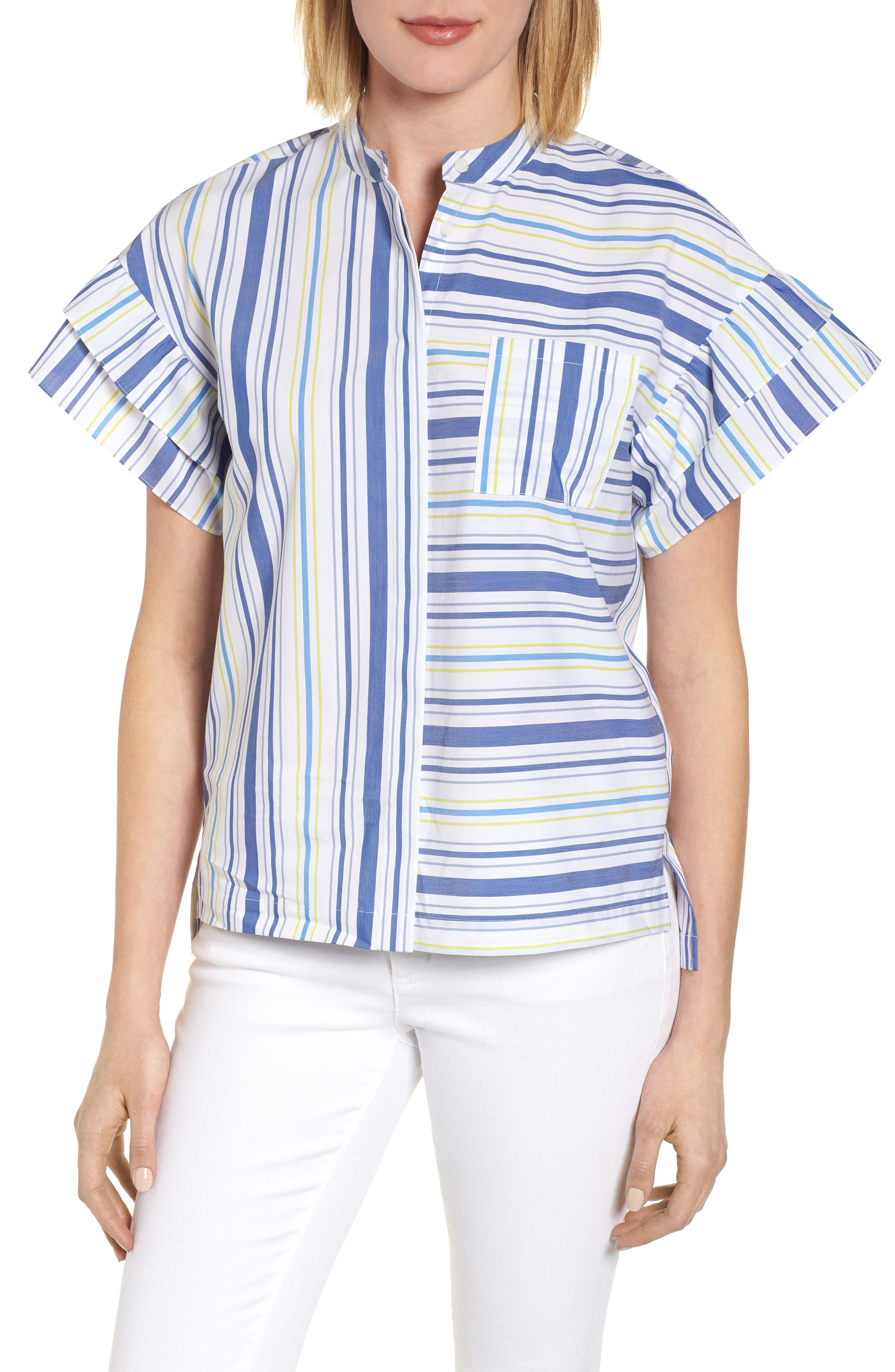 Ruffle Sleeve Stretch Cotton Blend Blouse,                         Main,                         color, White Multi Stripe