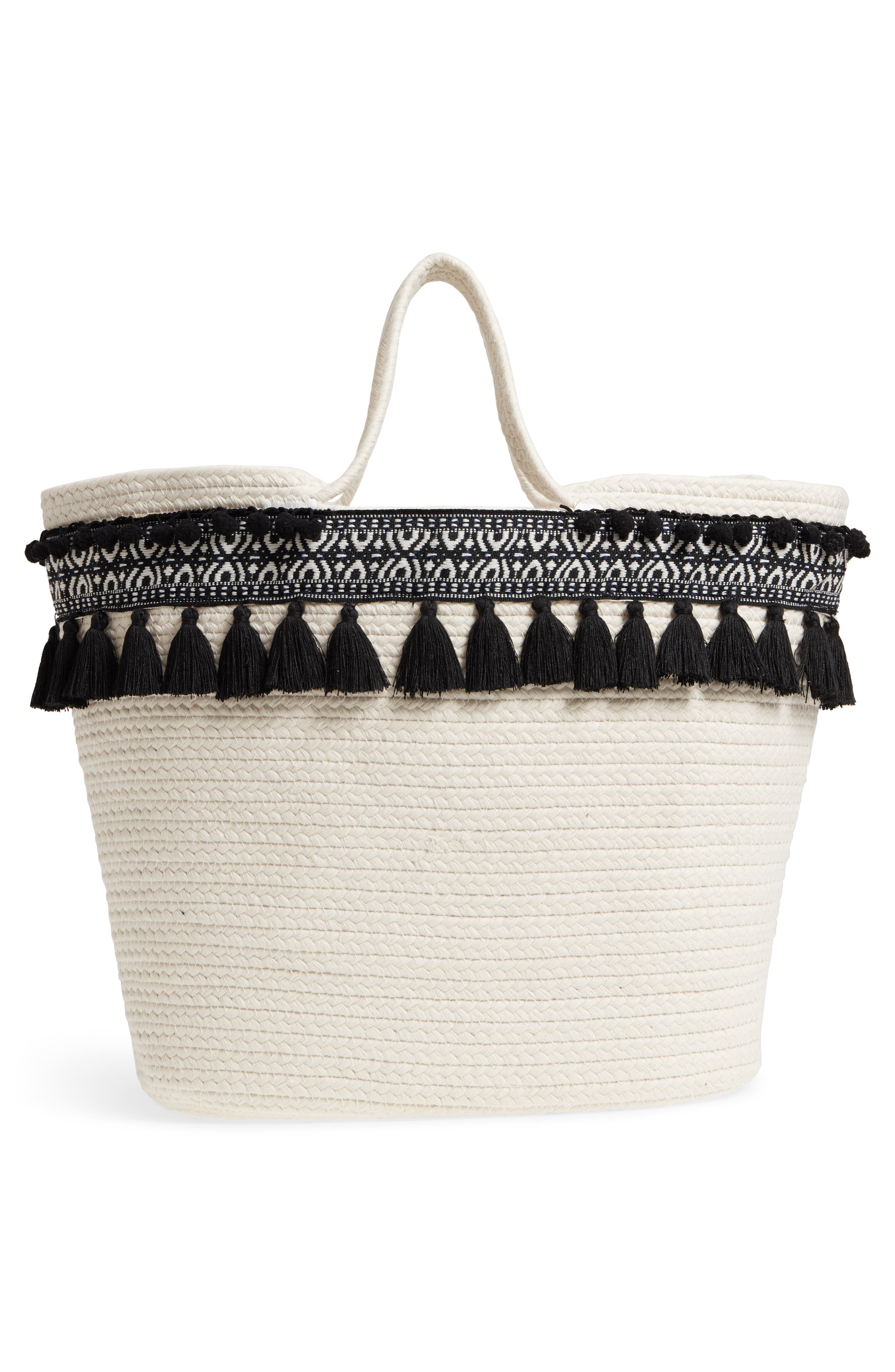 Caicos Woven Tote,                             Alternate thumbnail 3, color,                             Ivory