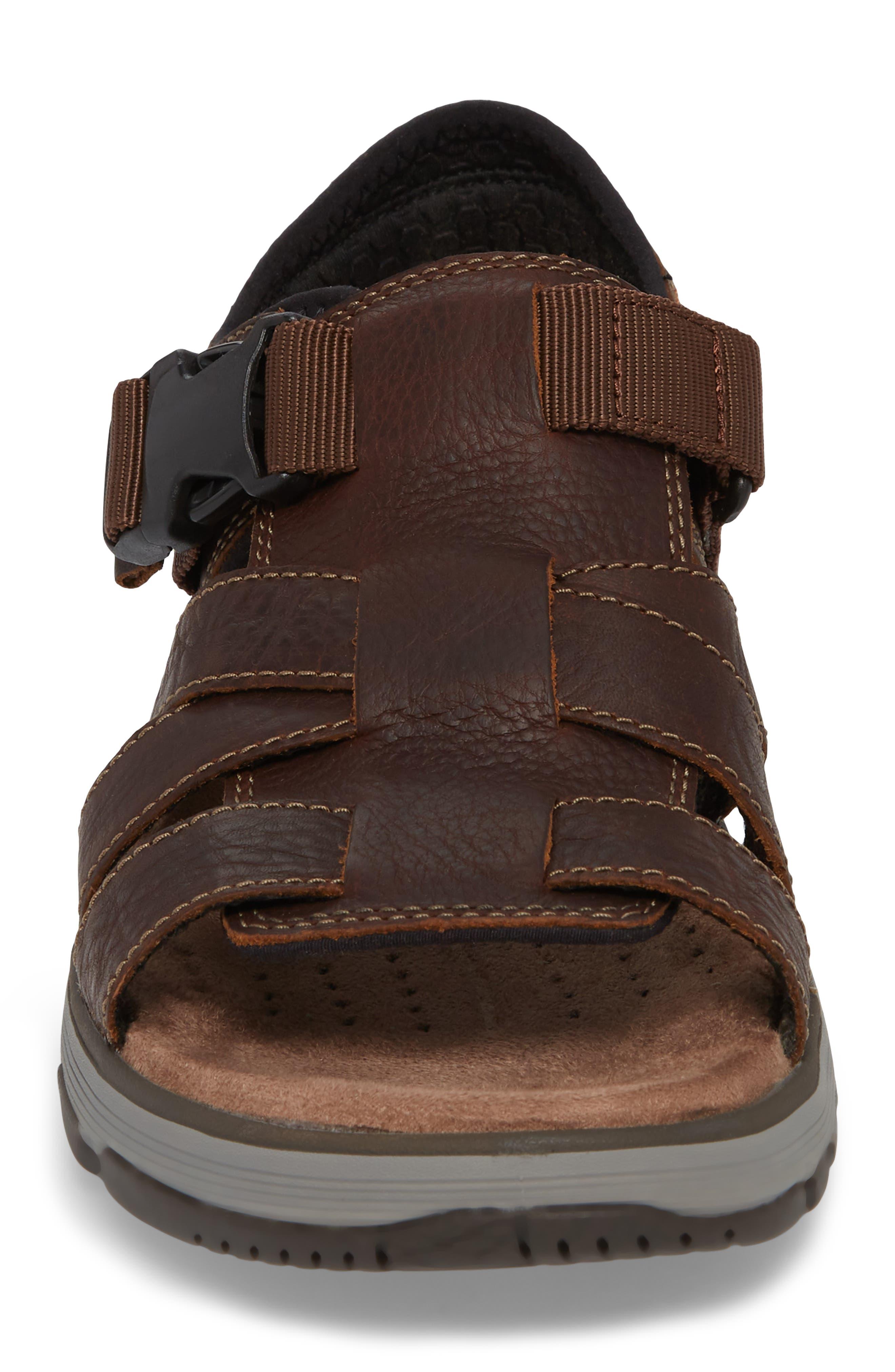 Clarks<sup>®</sup> Untrek Cove Fisherman Sandal,                             Alternate thumbnail 4, color,                             Dark Tan Leather