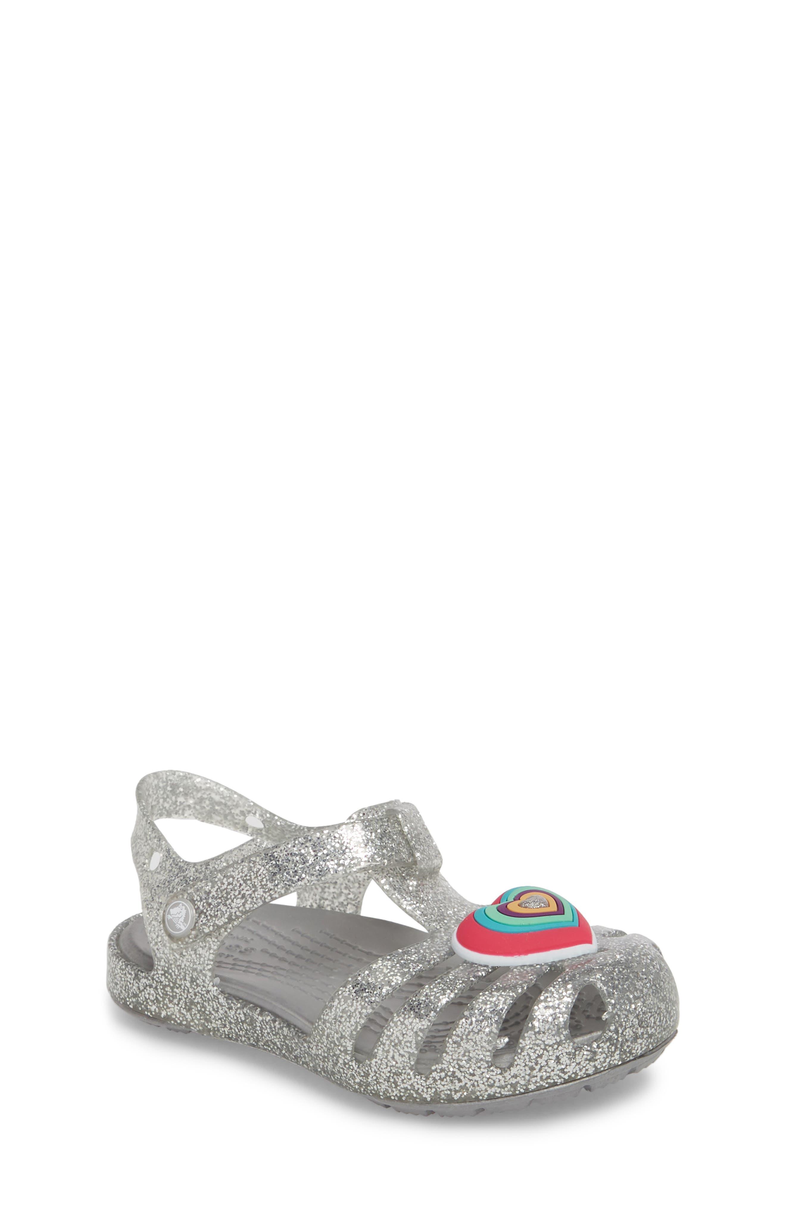 Isabella Glitter Fisherman Sandal,                         Main,                         color, Silver