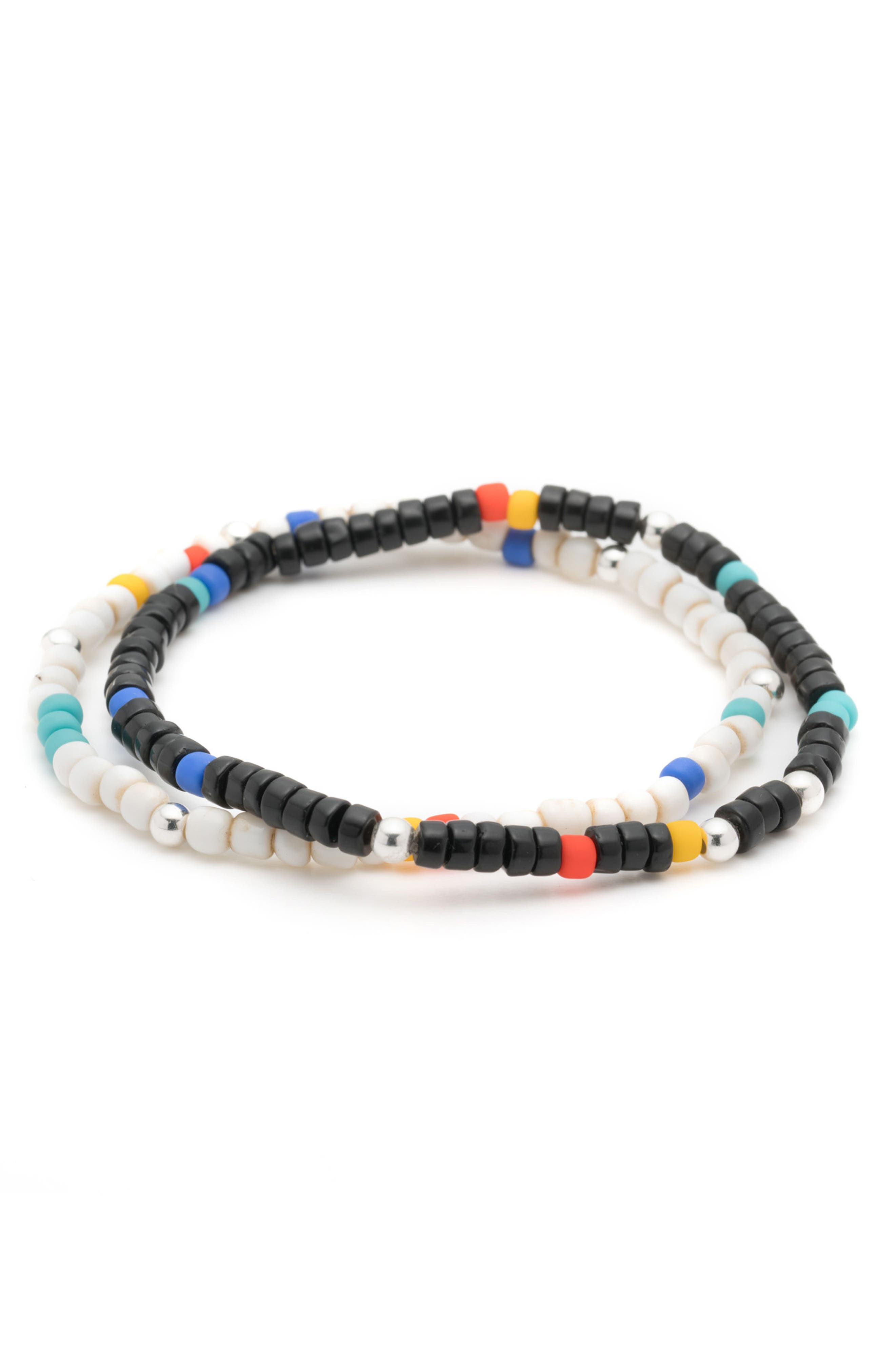 Essaouira 2-Pack Bracelets,                         Main,                         color, Black/ White/ Multi