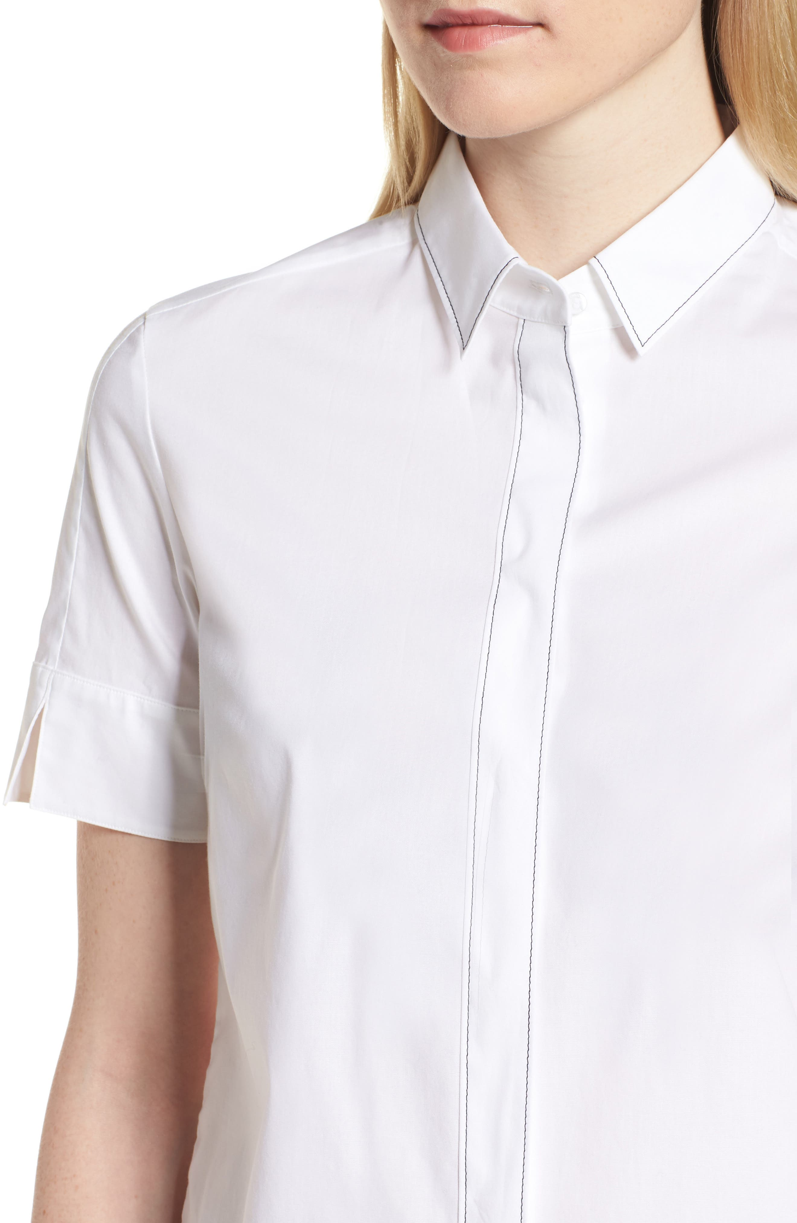 Balasera Stretch Cotton Blouse,                             Alternate thumbnail 4, color,                             White