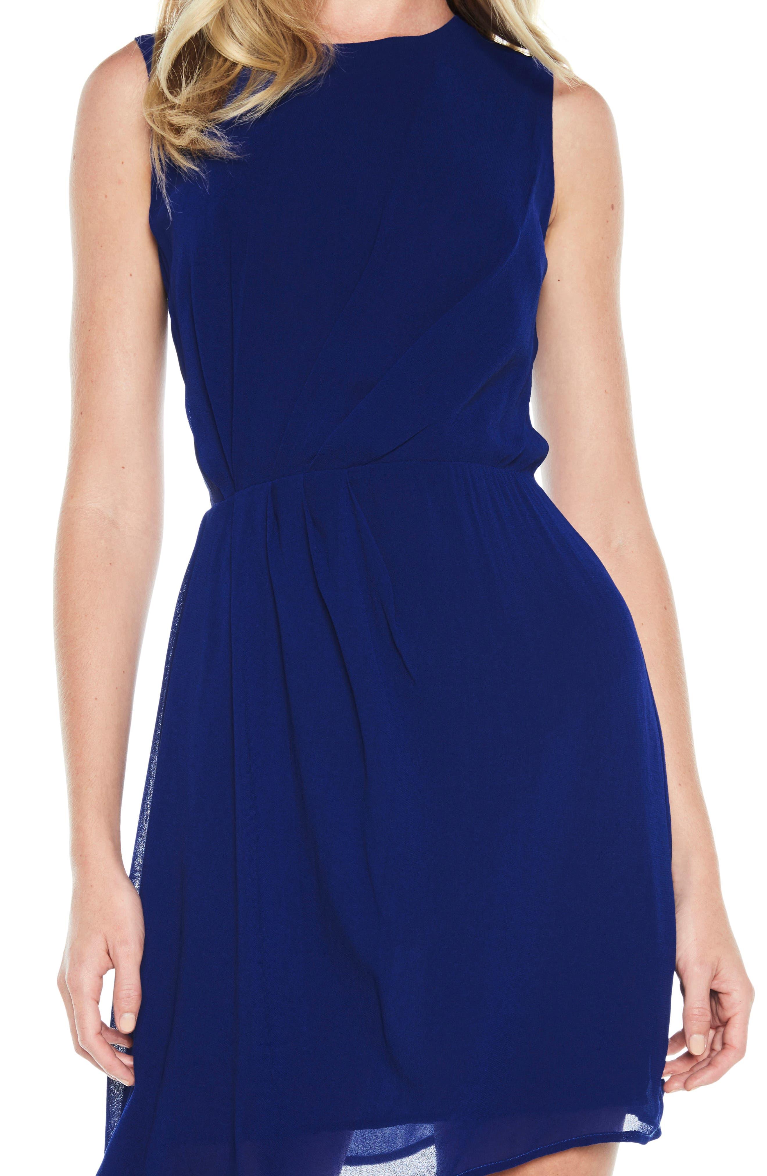 Stilla Asymmetric Hem Dress,                             Alternate thumbnail 4, color,                             Cobalt