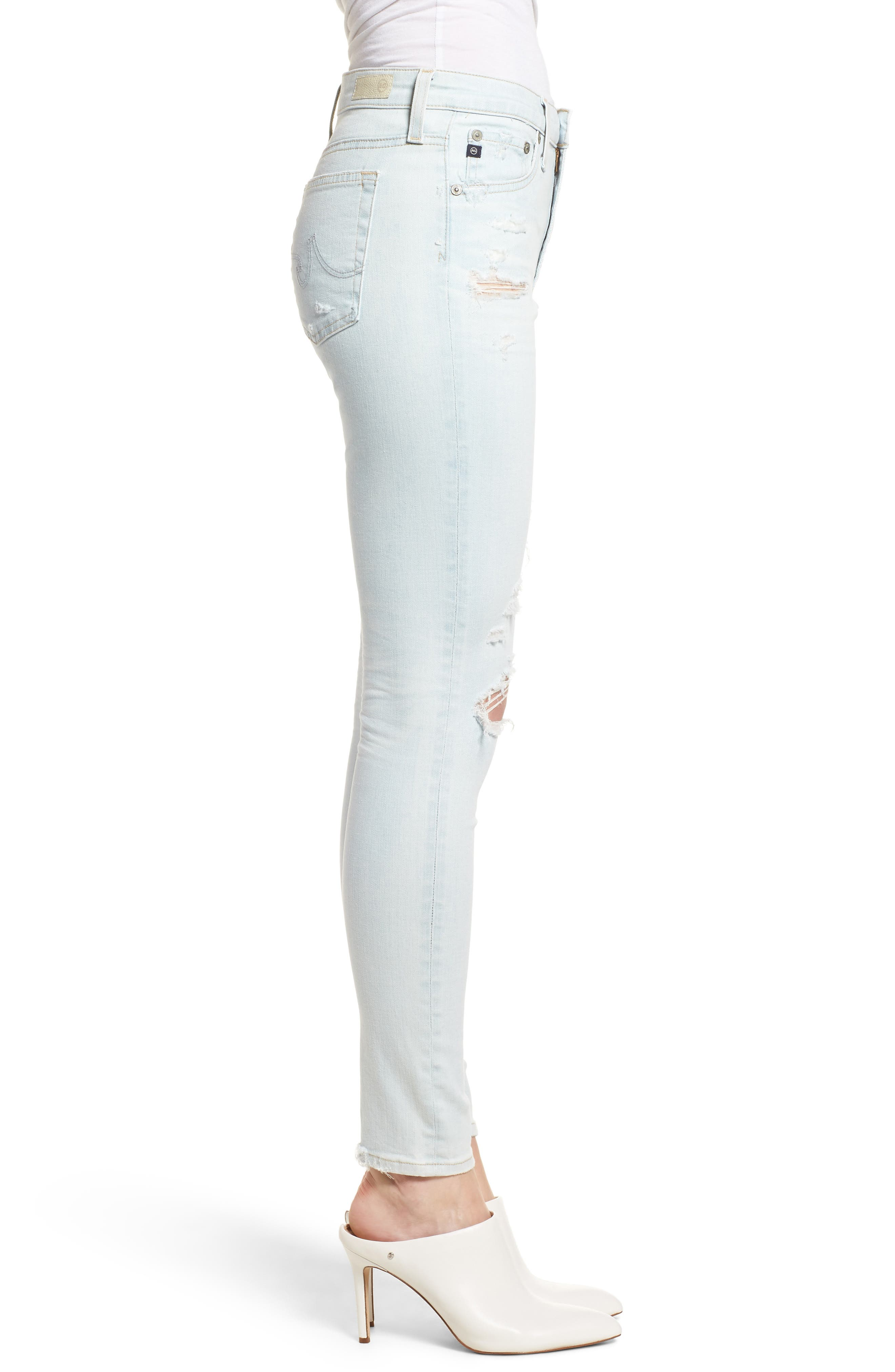 The Farrah Ripped High Waist Ankle Skinny Jeans,                             Alternate thumbnail 3, color,                             30 Years Wild Abandon
