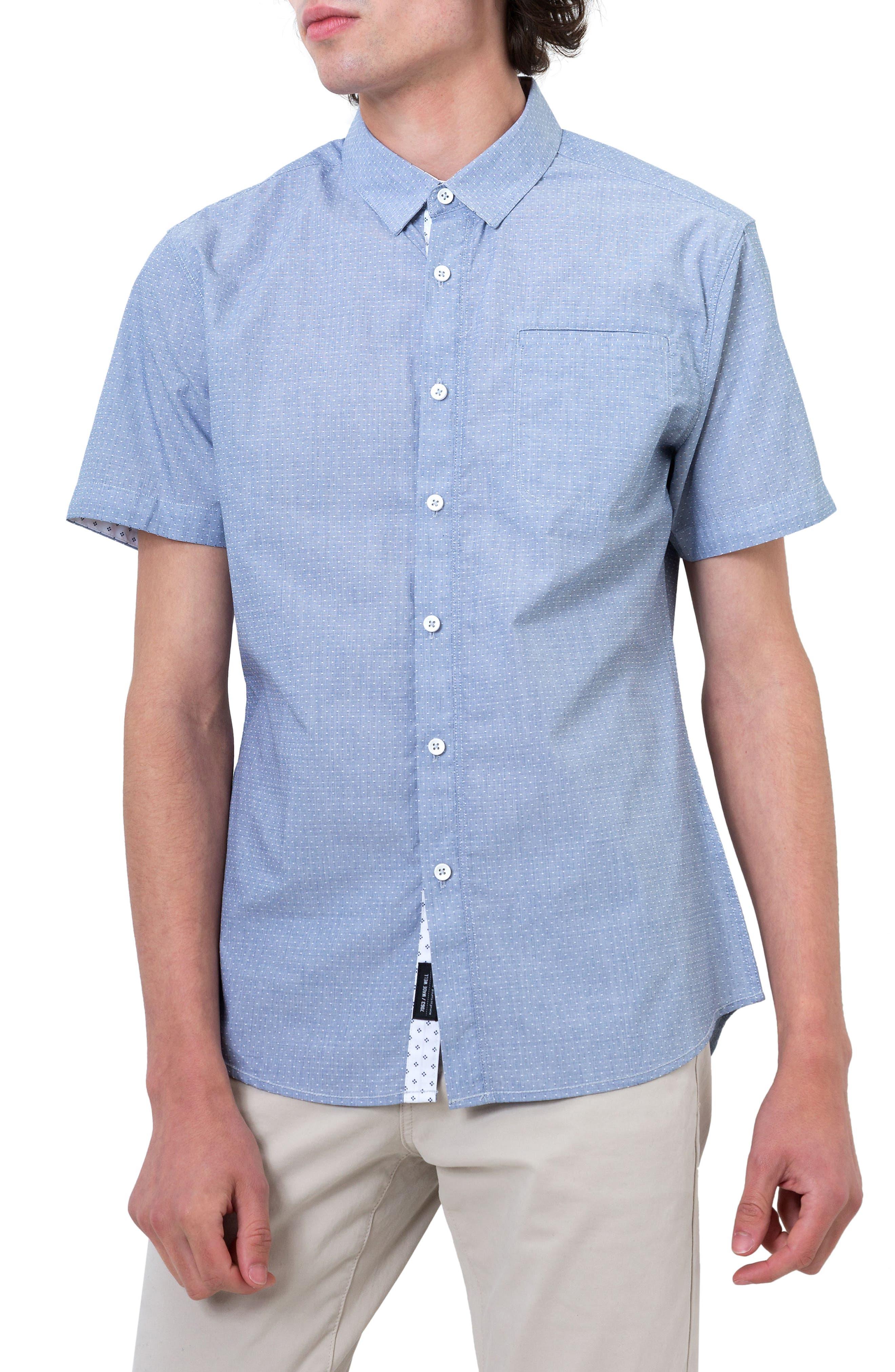 Reflective Dobby Dot Sport Shirt,                             Main thumbnail 1, color,                             Grey