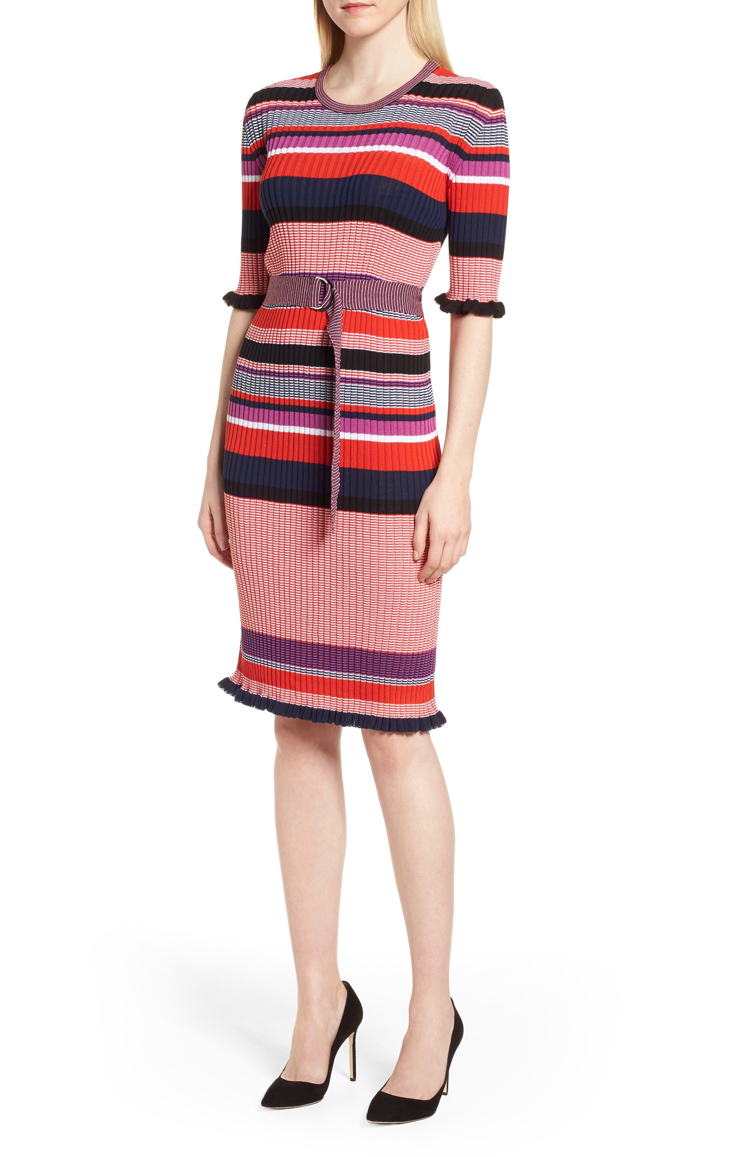 Fantonia Stripe Knit Sheath Dress,                             Main thumbnail 1, color,                             Black Fantasy