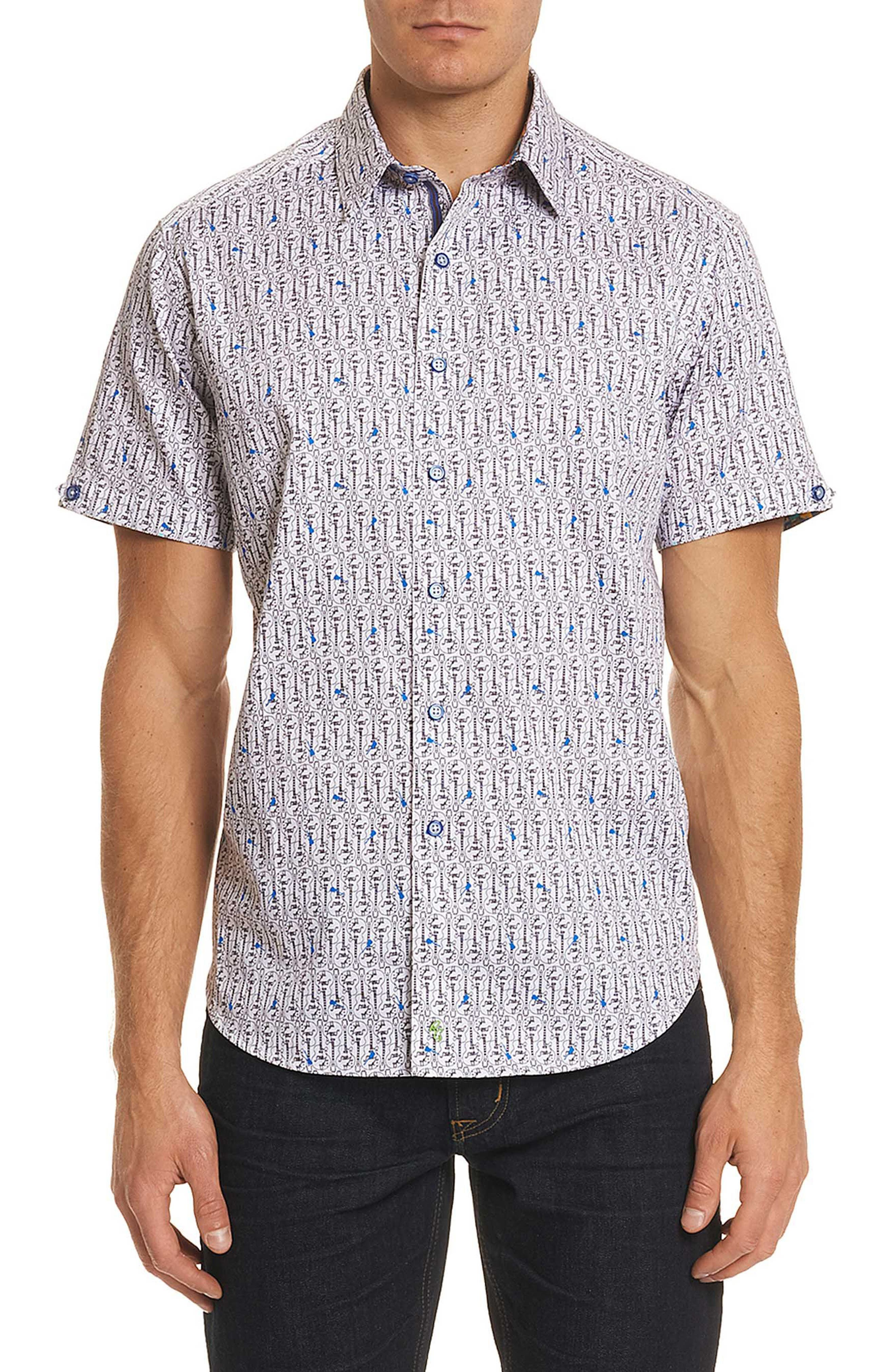 Cuban Tres Classic Fit Print Sport Shirt,                         Main,                         color, White