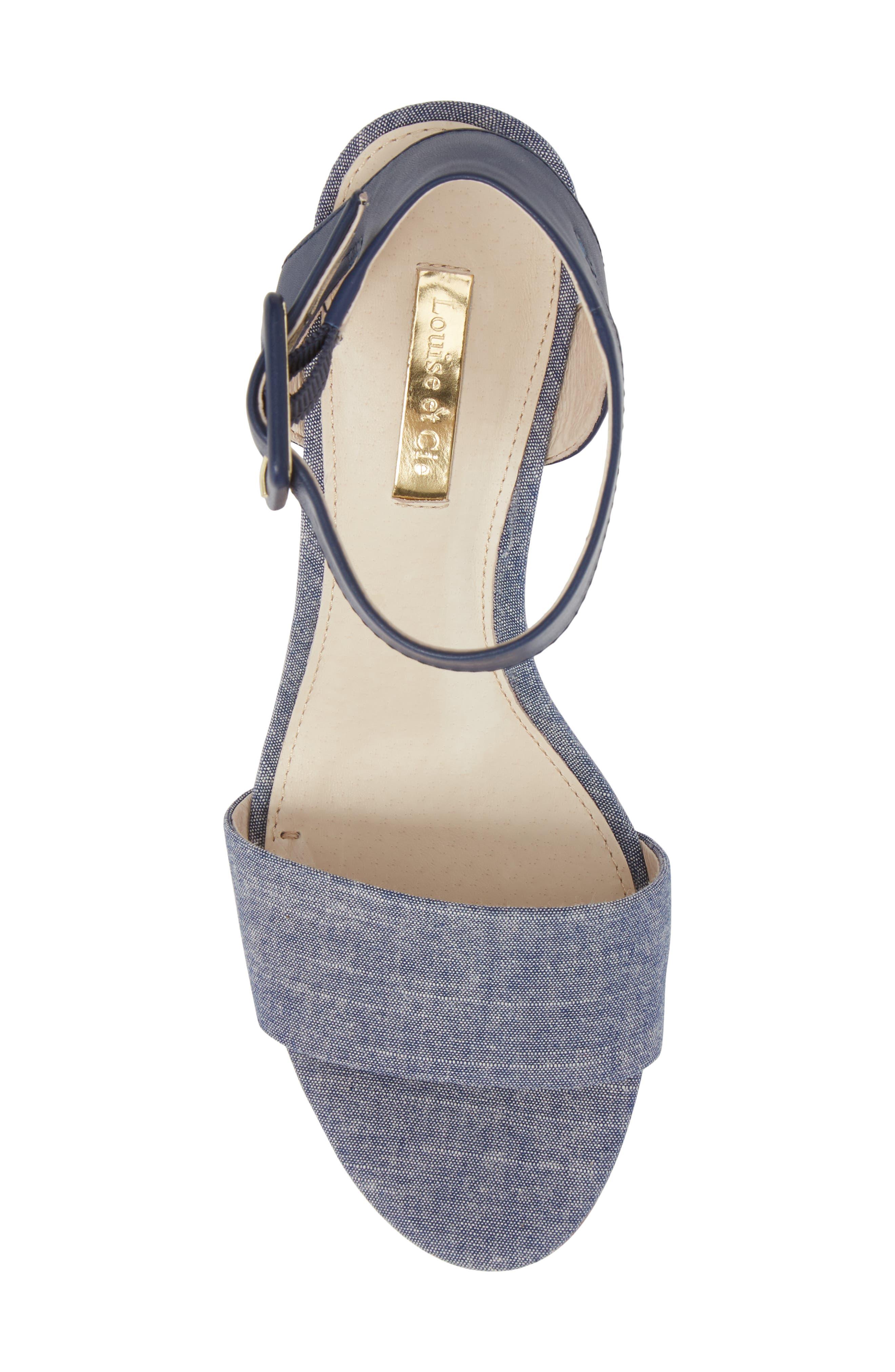 Punya Wedge Sandal,                             Alternate thumbnail 5, color,                             Denim Fabric