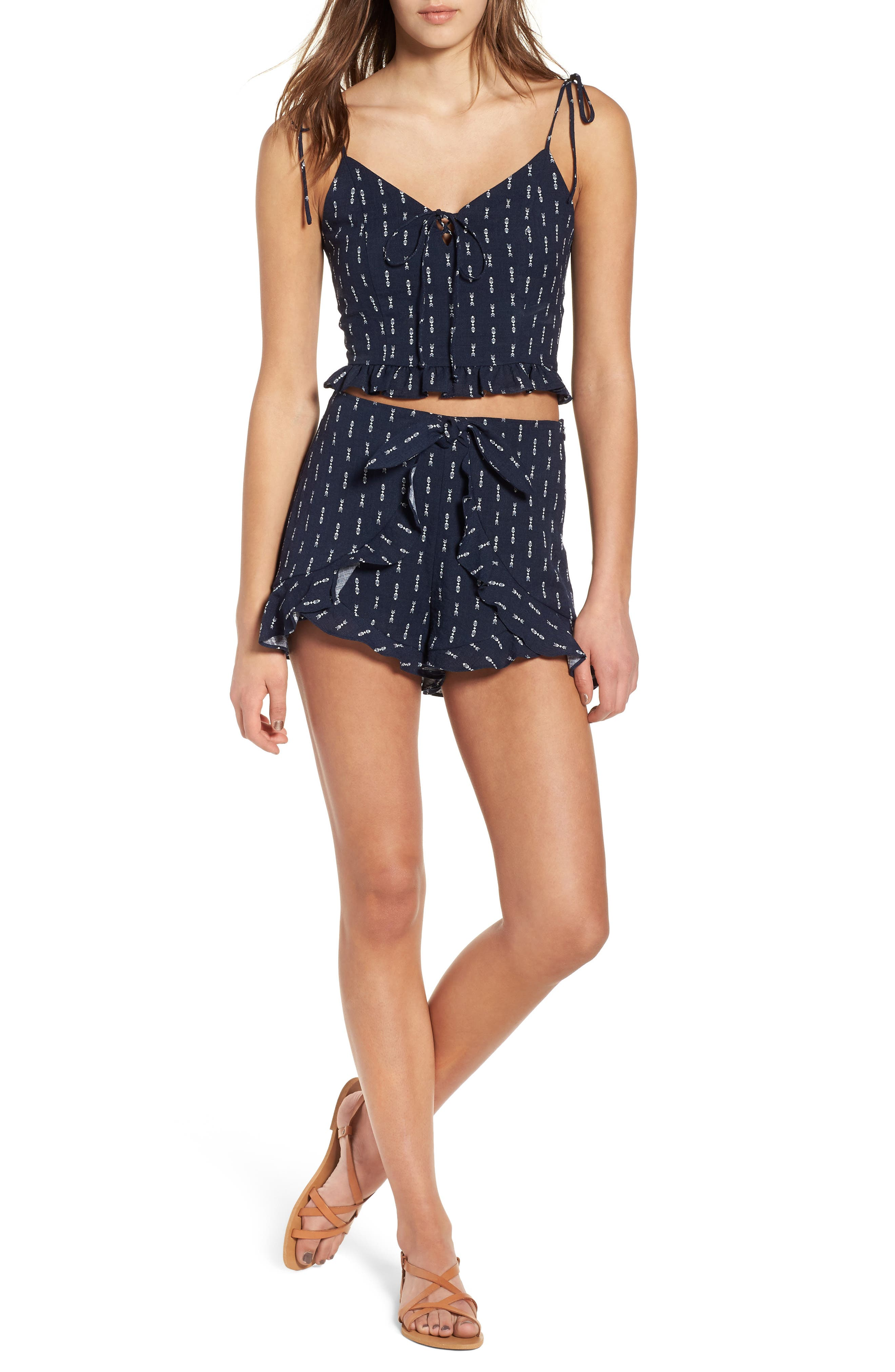 Melrose Flutter Shorts,                             Alternate thumbnail 2, color,                             Navy