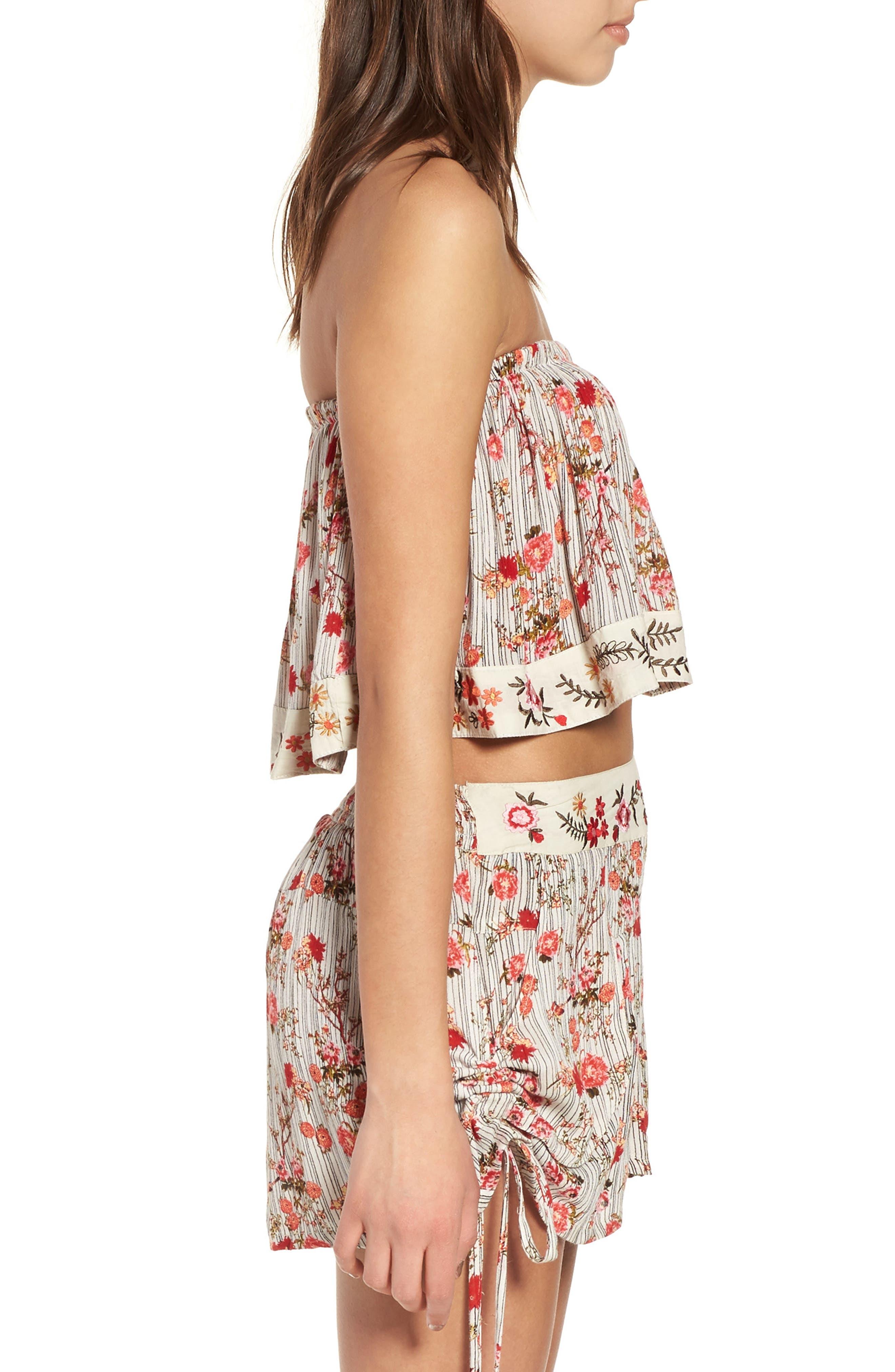Primrose Floral Print Shorts,                             Alternate thumbnail 5, color,                             Multi