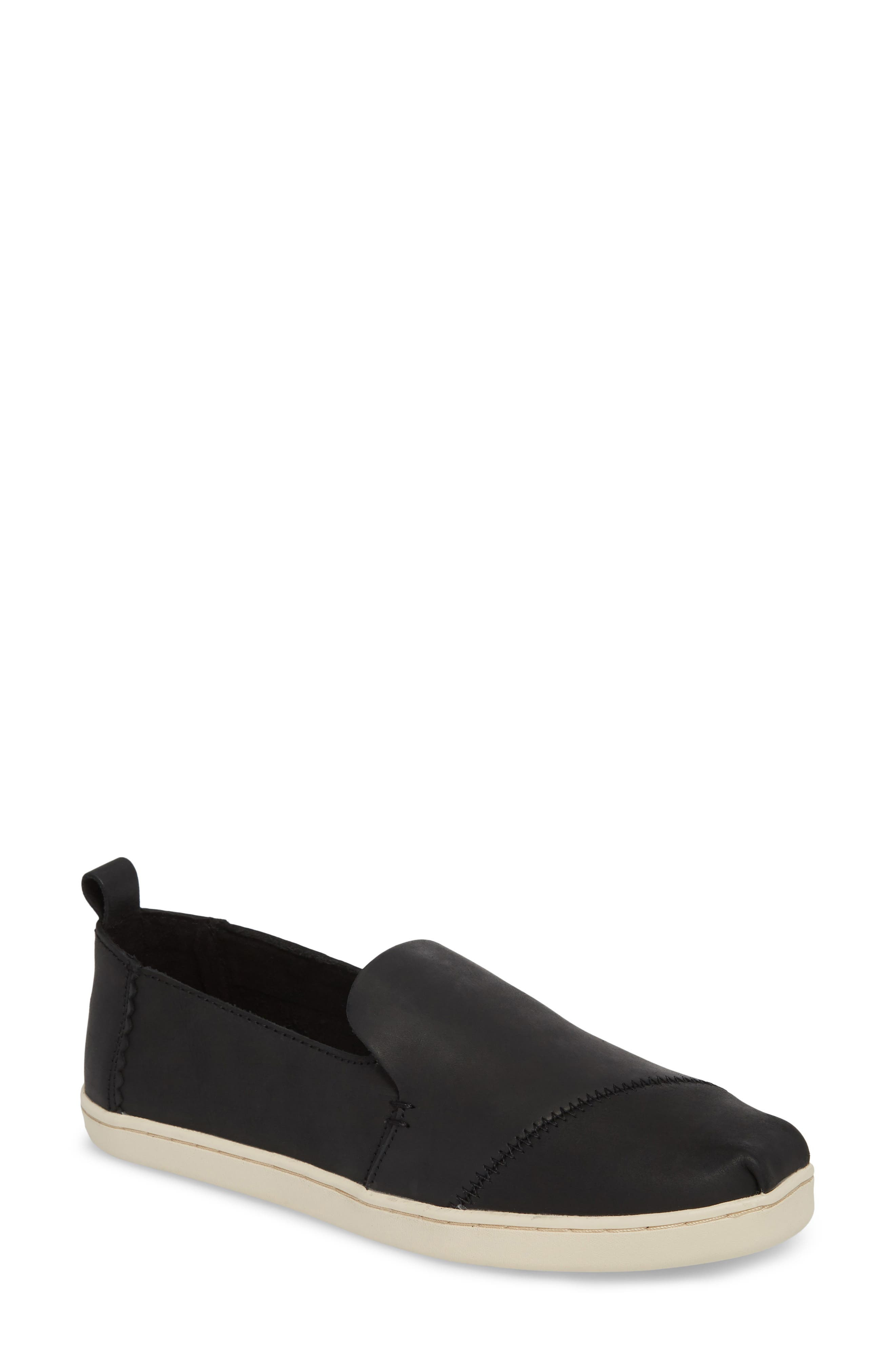 TOMS Women'S Deconstructed Alpargata Leather Flats in Black Leather