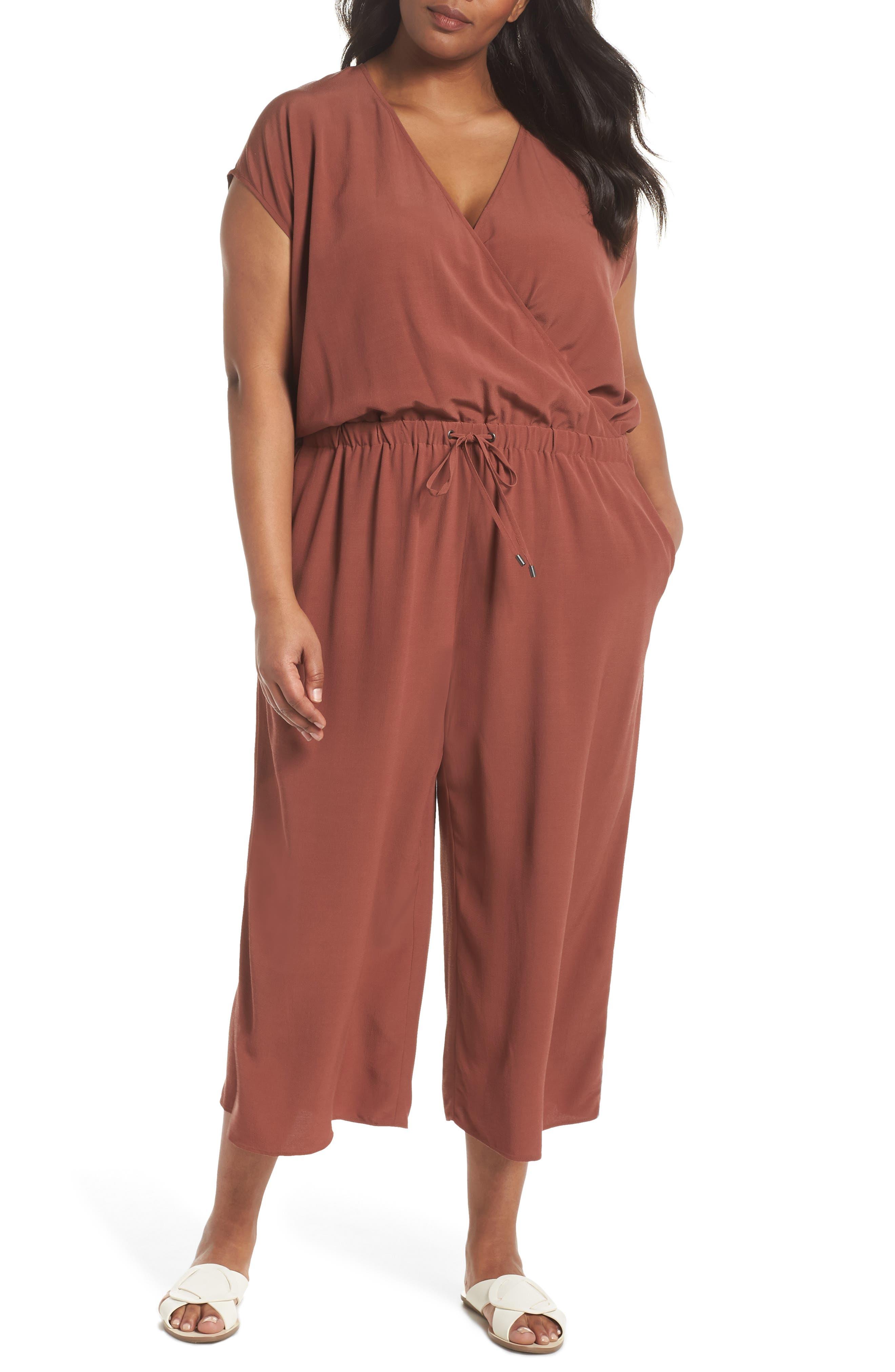 Main Image - Eileen Fisher Wide Leg Crop Jumpsuit (Plus Size)