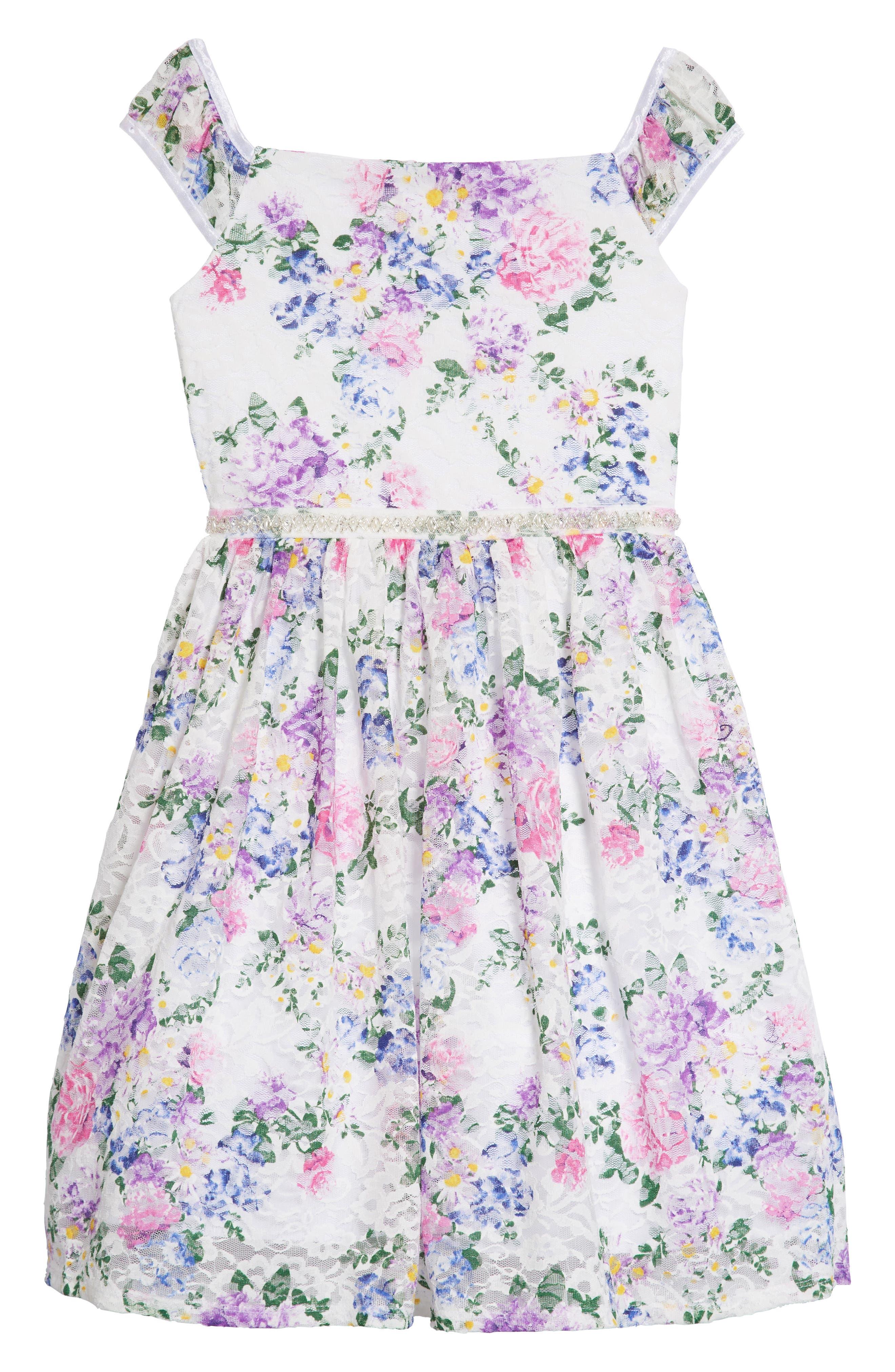 Floral Lace Dress,                         Main,                         color, White/ Lavendar