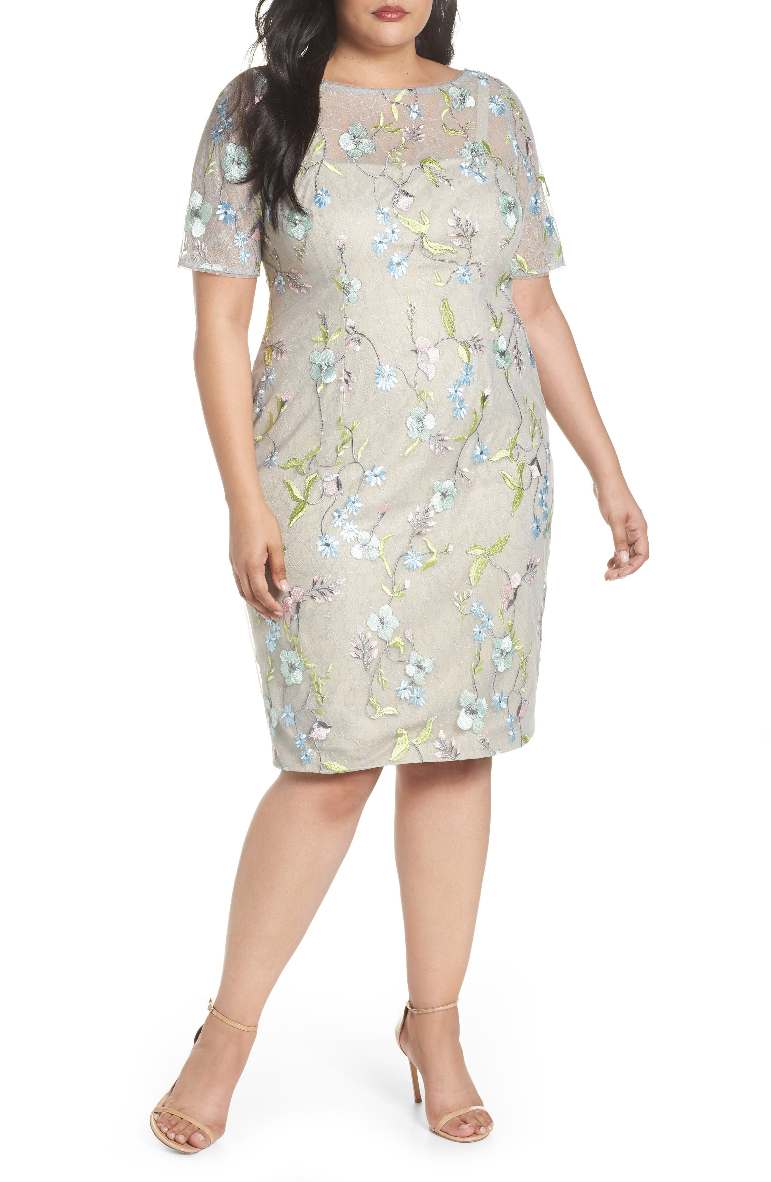 Adrianna Papell Embroidered Lace Sheath Dress (Plus Size)