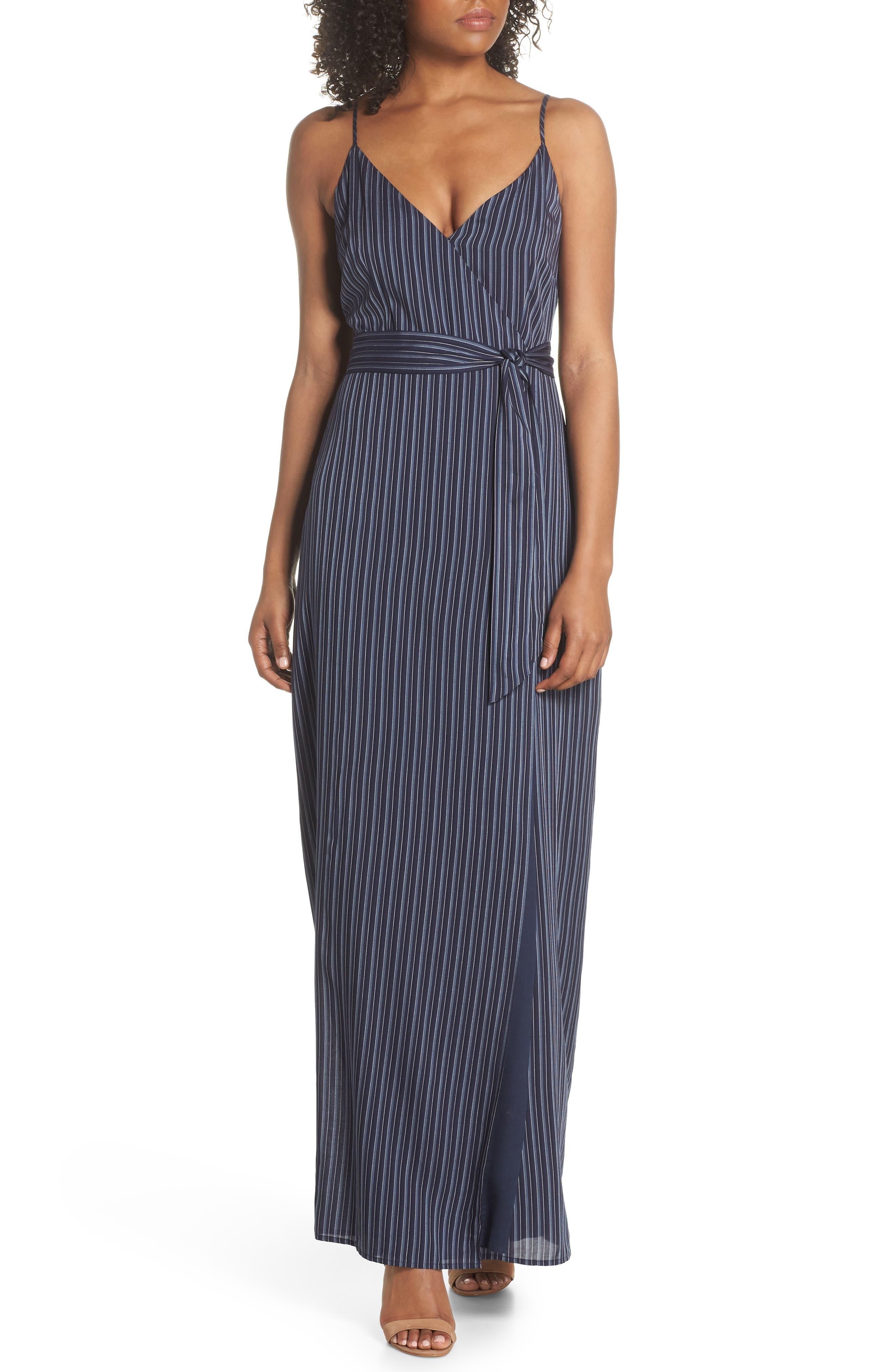 Regina Stripe Maxi Wrap Dress,                             Main thumbnail 1, color,                             Rich Navy Multi