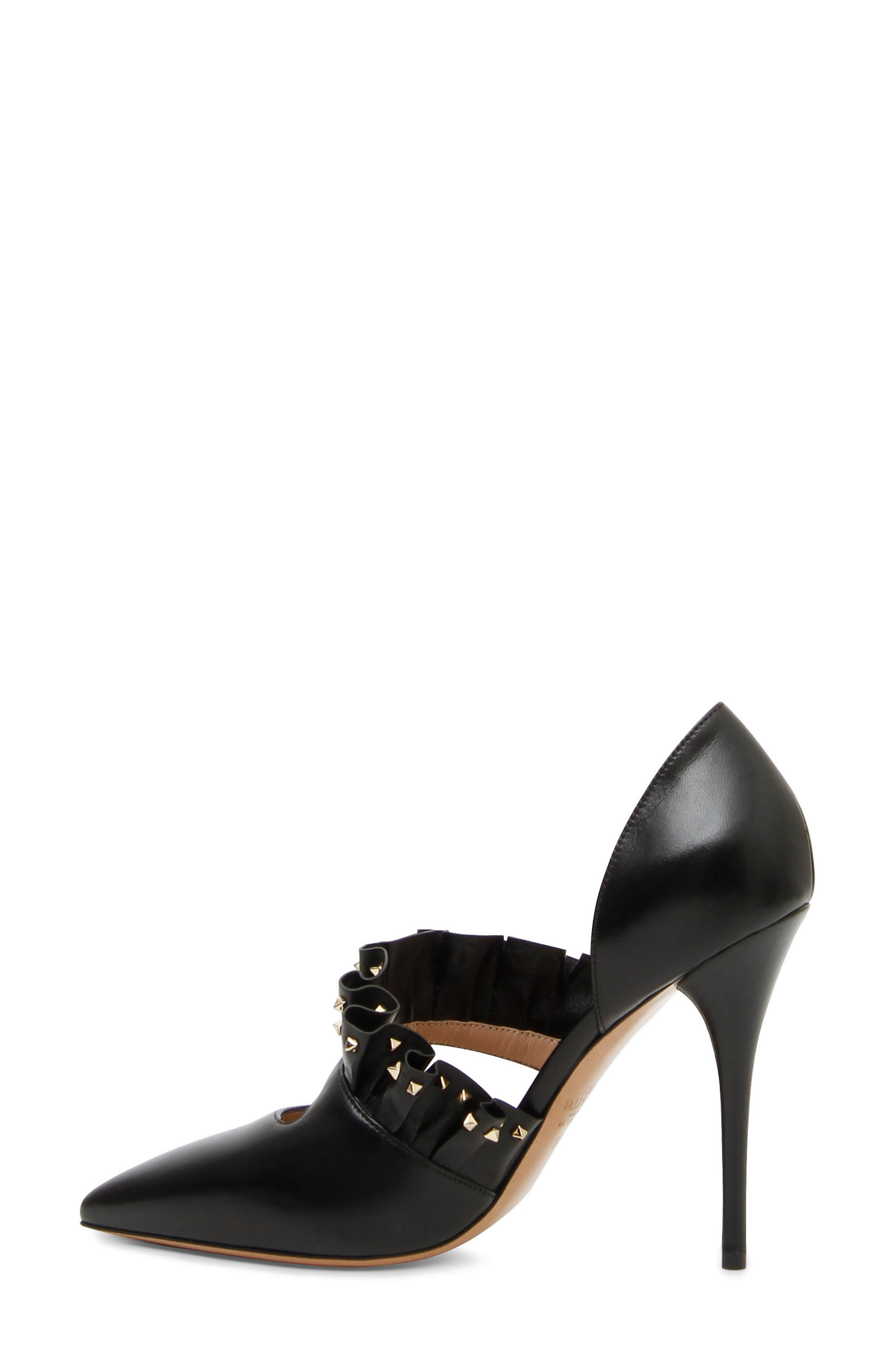 Studded Ruffle Pump,                         Main,                         color, Black