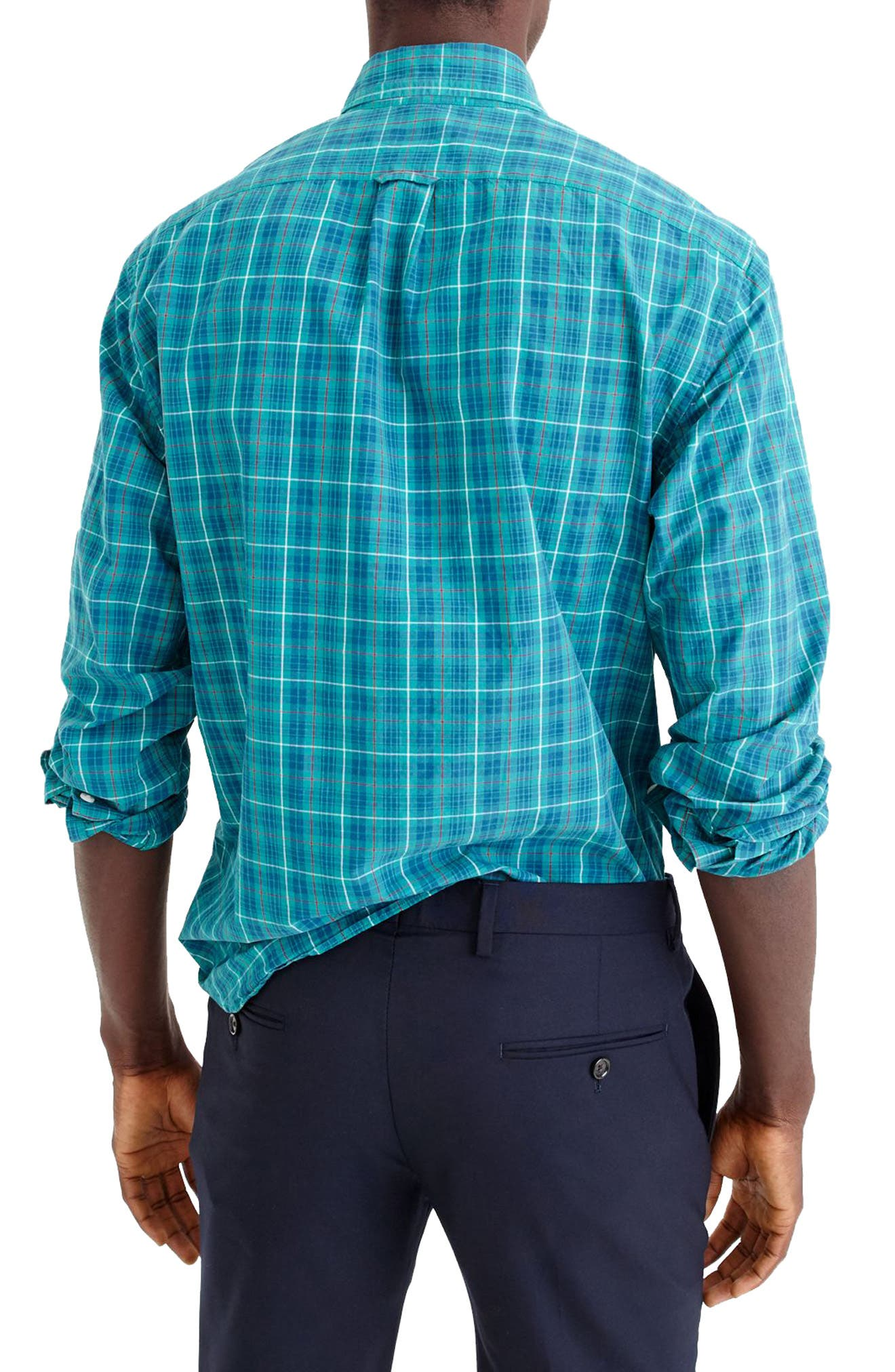 Alternate Image 2  - J.Crew Slim Fit Stretch Secret Wash Plaid Sport Shirt