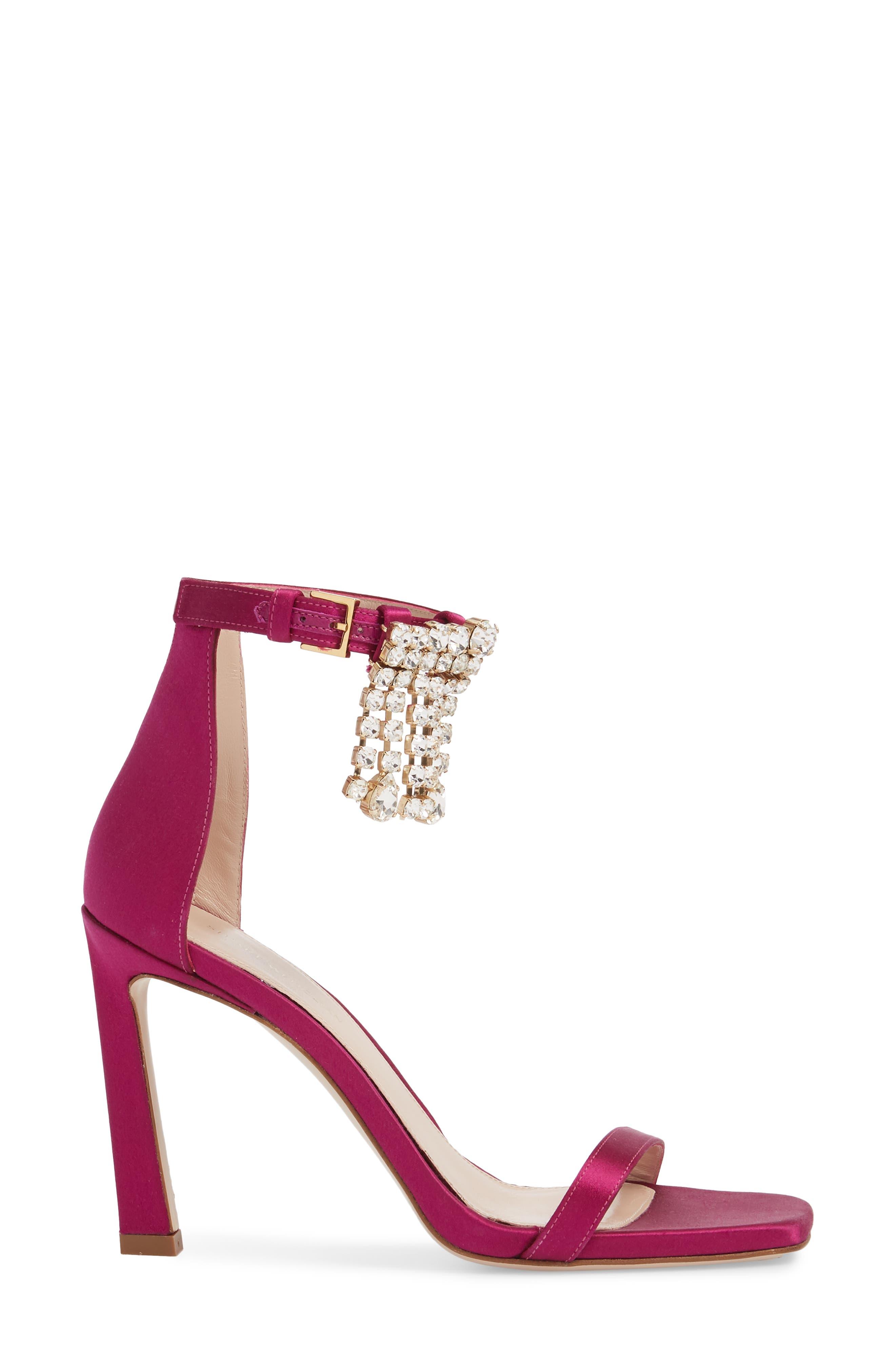 100FRINGESQUARENUDIST Sandal,                             Alternate thumbnail 3, color,                             Grape Silk Satin