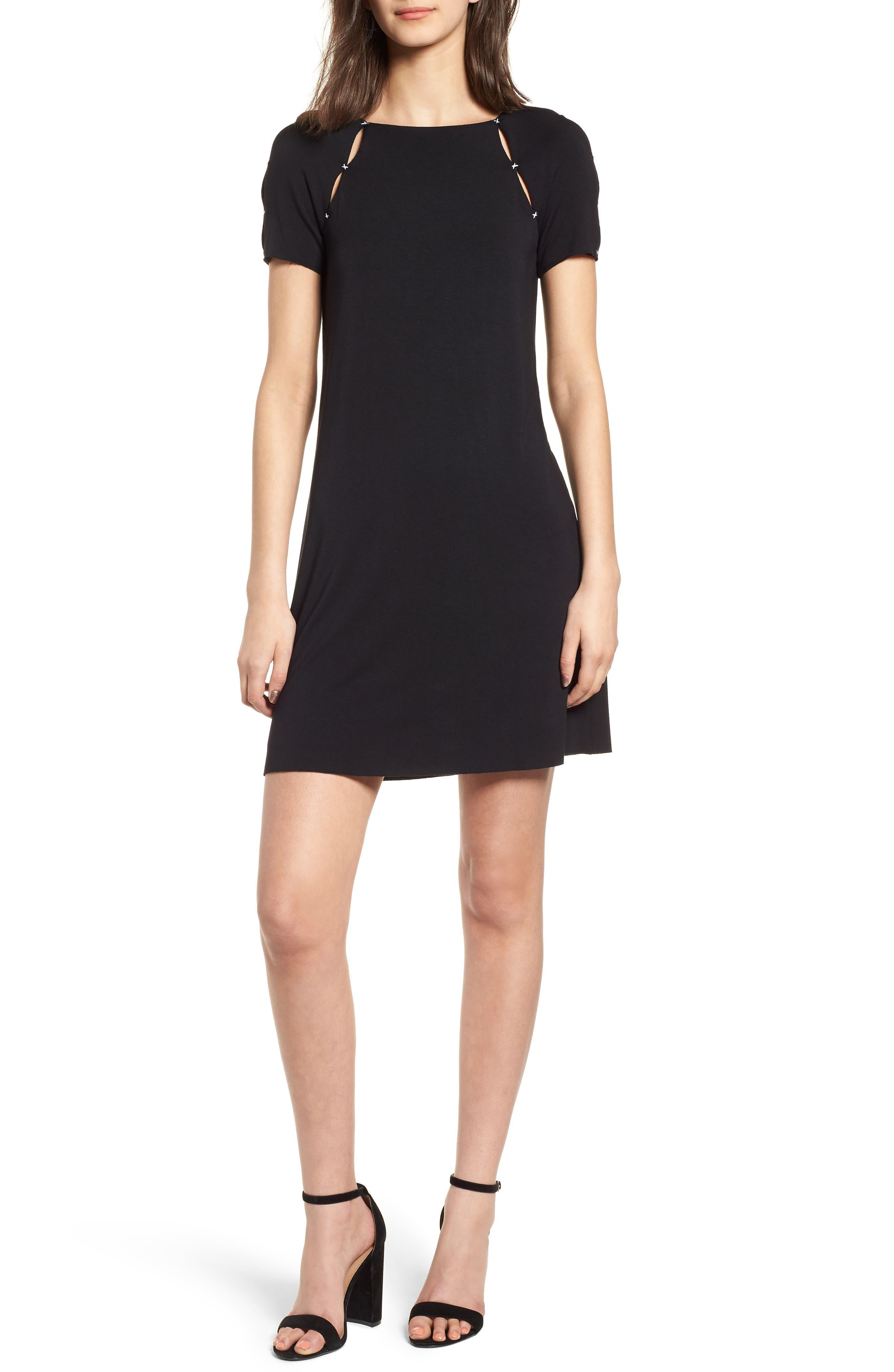 Dust-Up Cutout Minidress,                         Main,                         color, Black