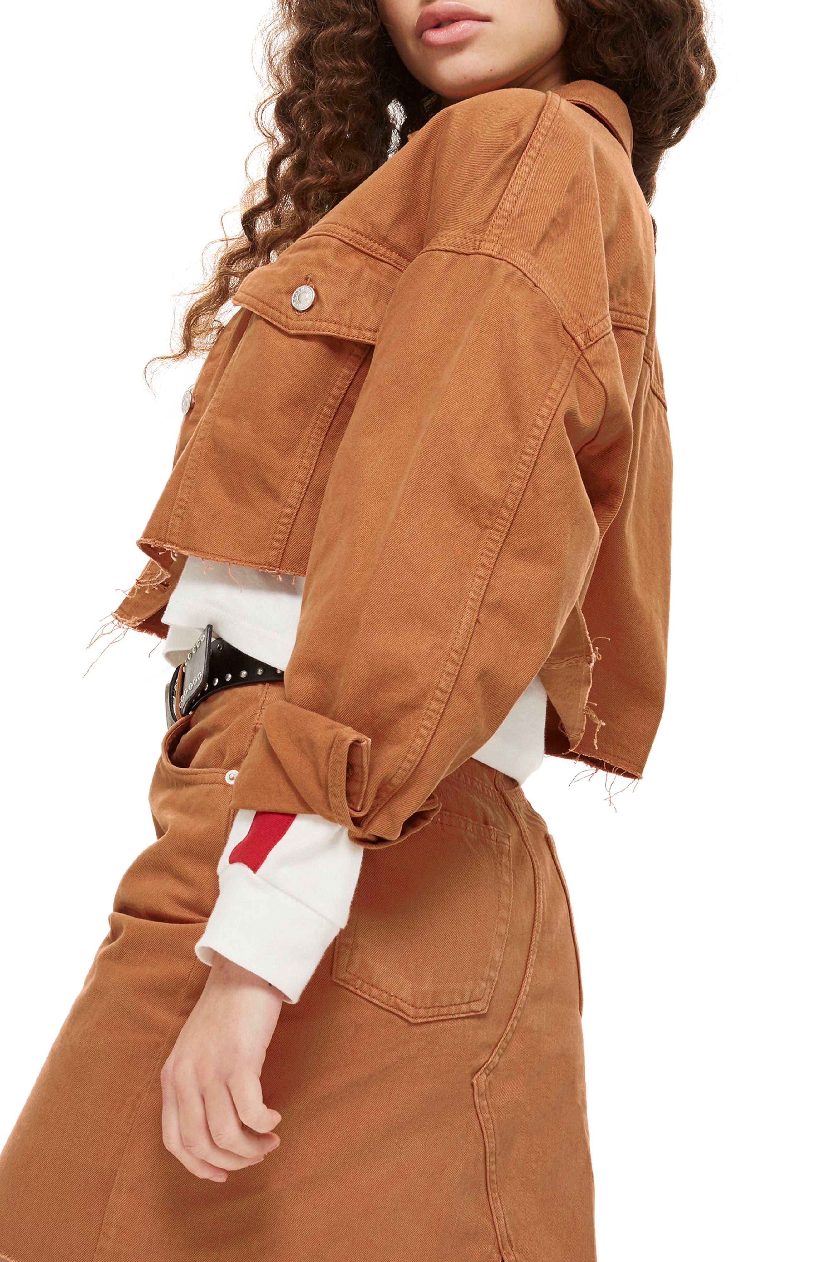 Raw Edge Crop Denim Jacket,                             Alternate thumbnail 3, color,                             Rust