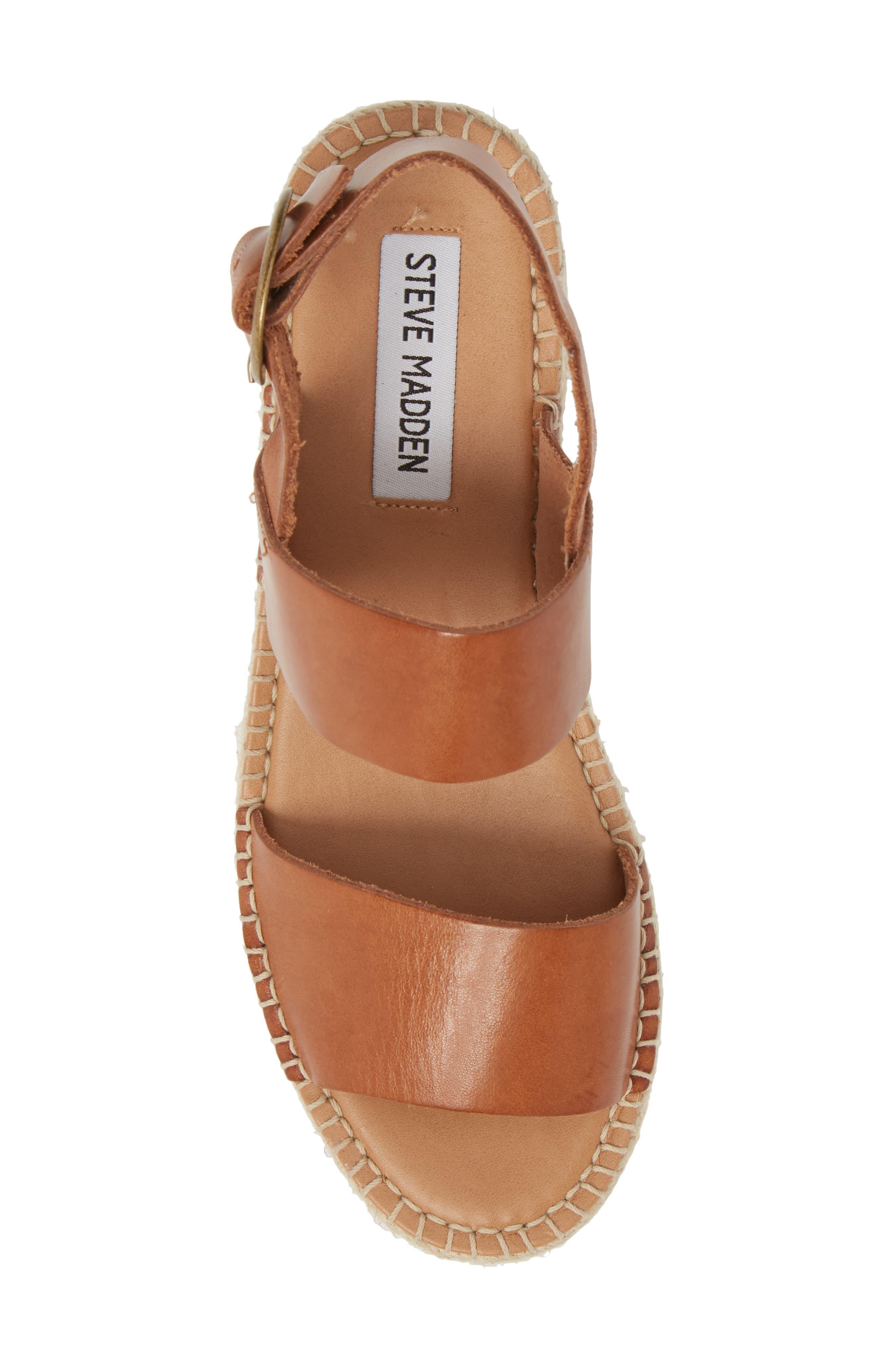 Cali Espadrille Platform Sandal,                             Alternate thumbnail 5, color,                             Cognac Leather