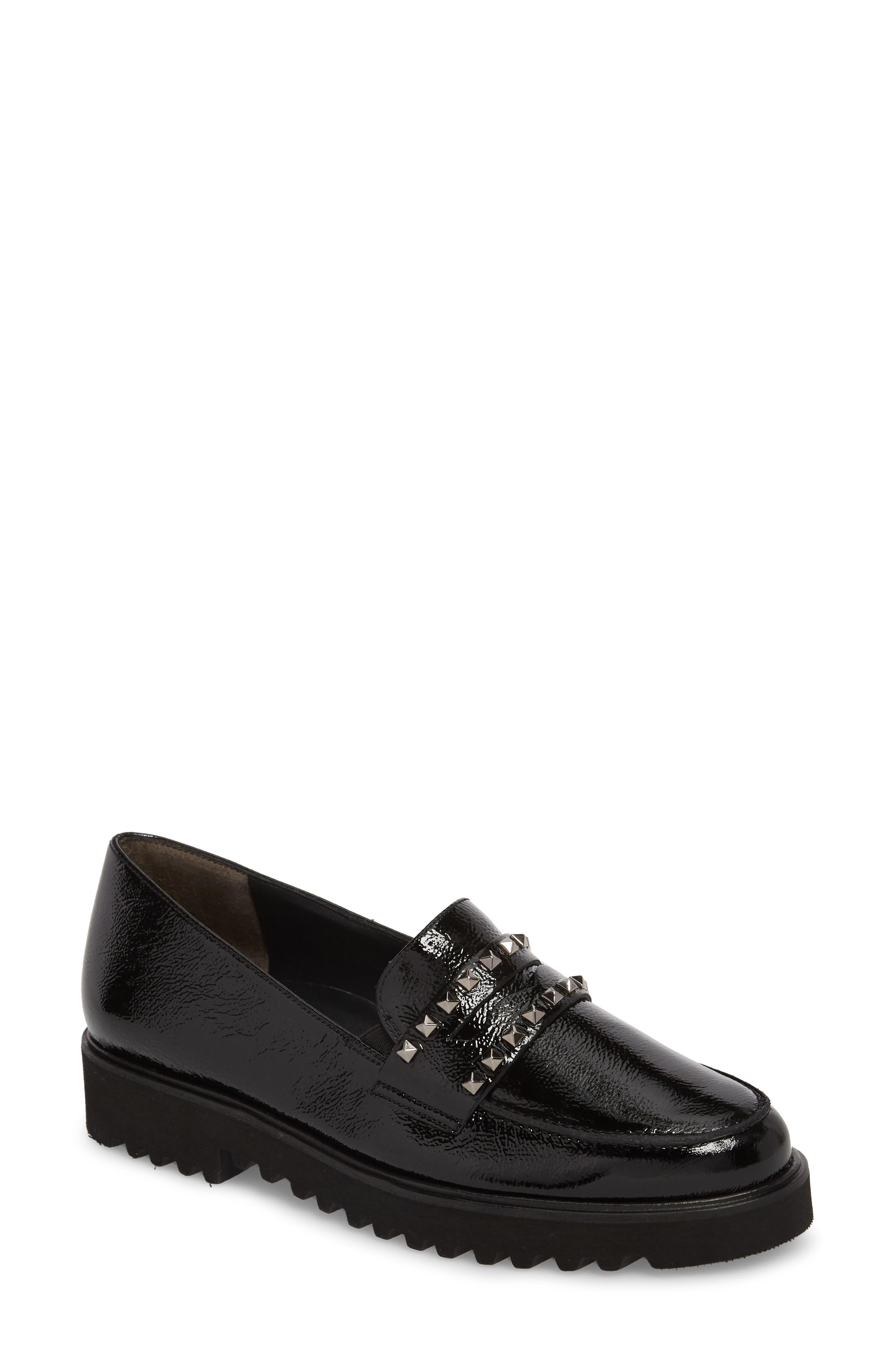 Sofia Loafer,                         Main,                         color, Black Crinkle Patent