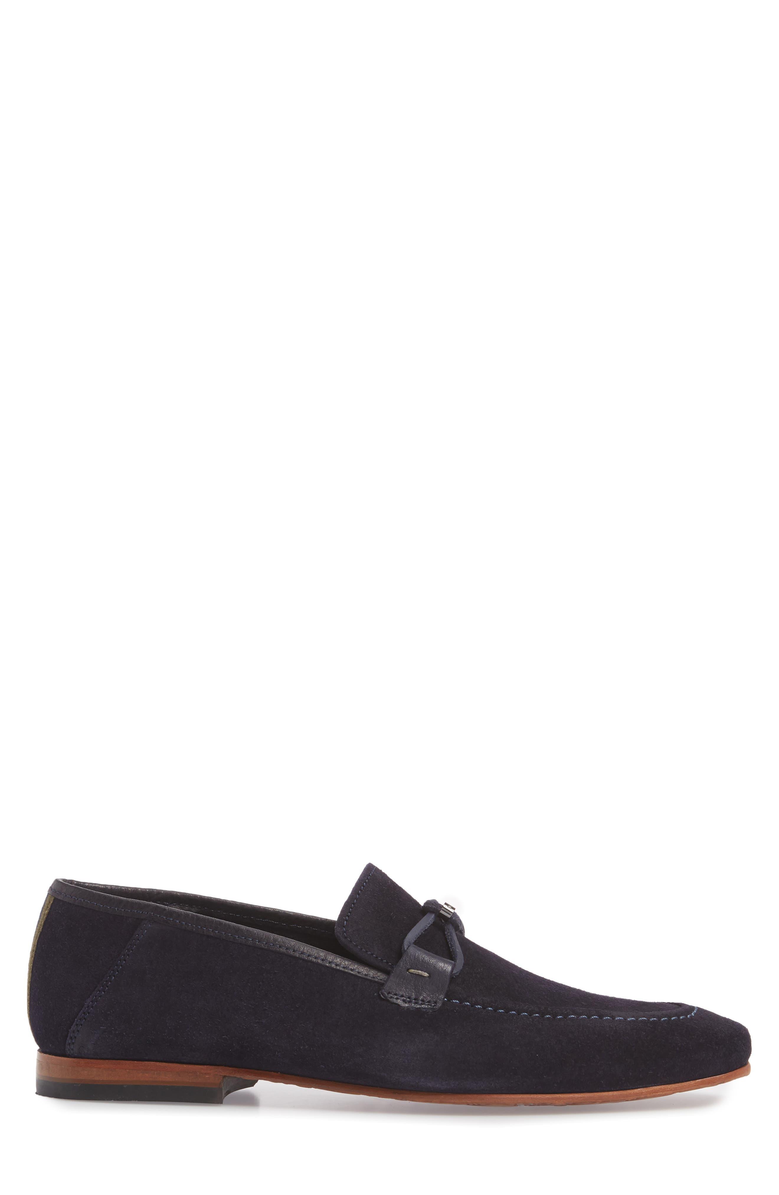 Hoppken Convertible Knotted Loafer,                             Alternate thumbnail 3, color,                             Dark Blue Suede
