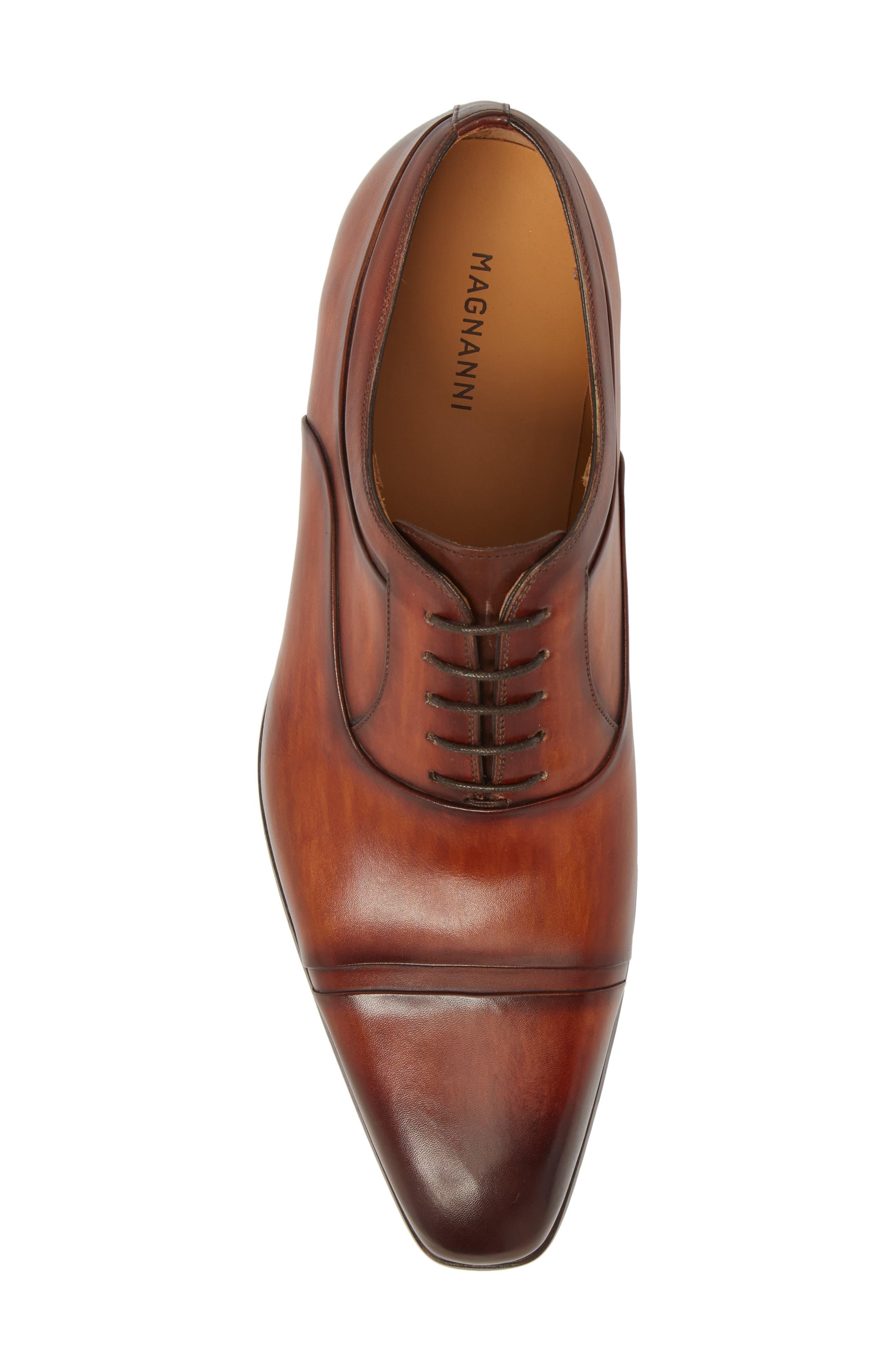 Tobin Cap Toe Oxford,                             Alternate thumbnail 5, color,                             Cognac Leather