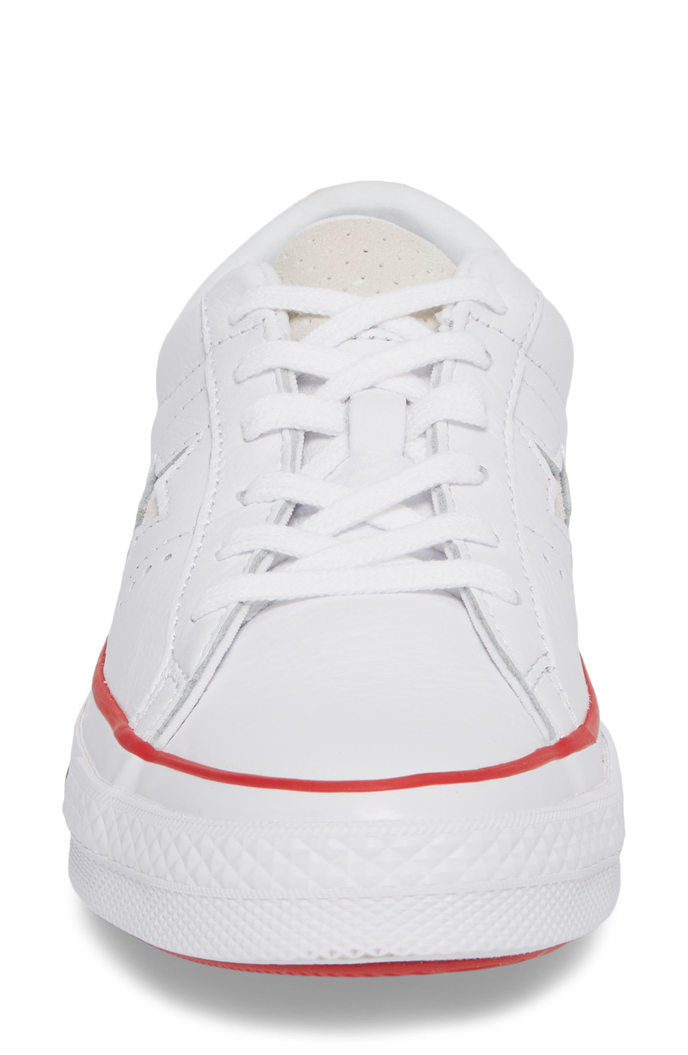 One Star Sneaker,                             Alternate thumbnail 4, color,                             White/ Gym Red