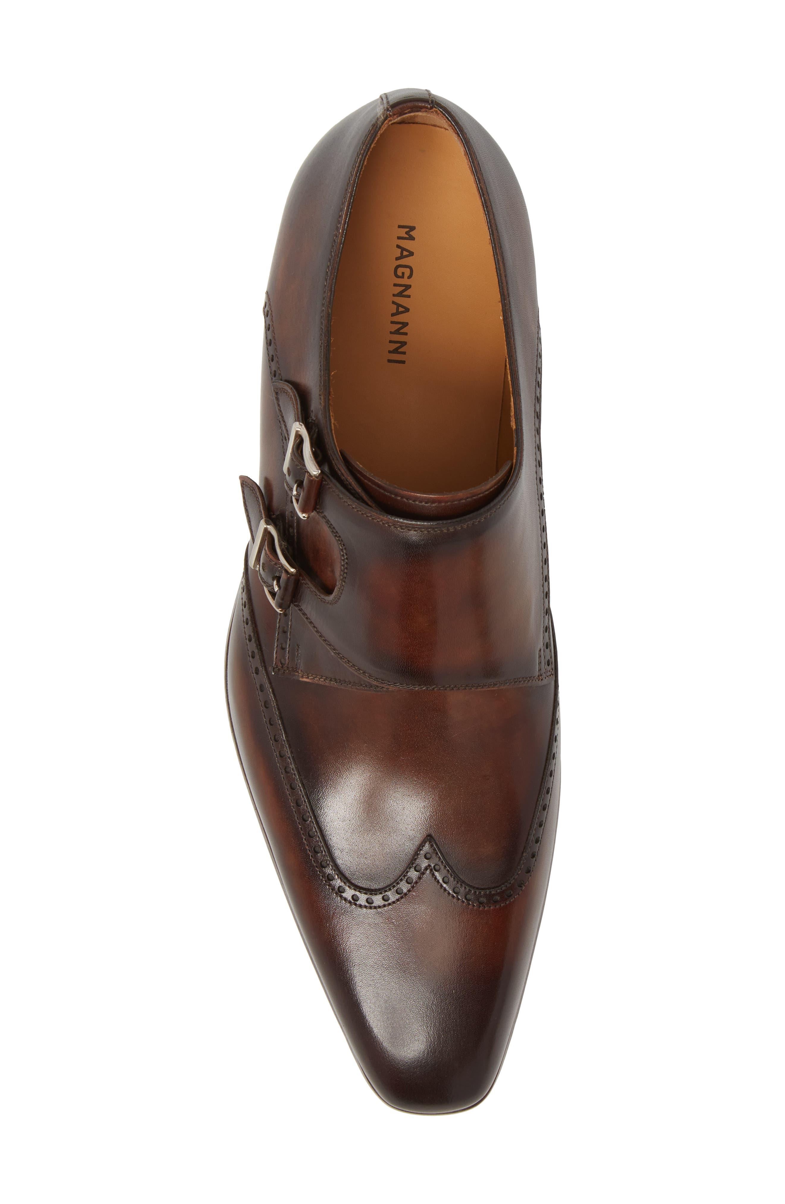 Dixon Wingtip Double Strap Monk Shoe,                             Alternate thumbnail 5, color,                             Tobacco Leather