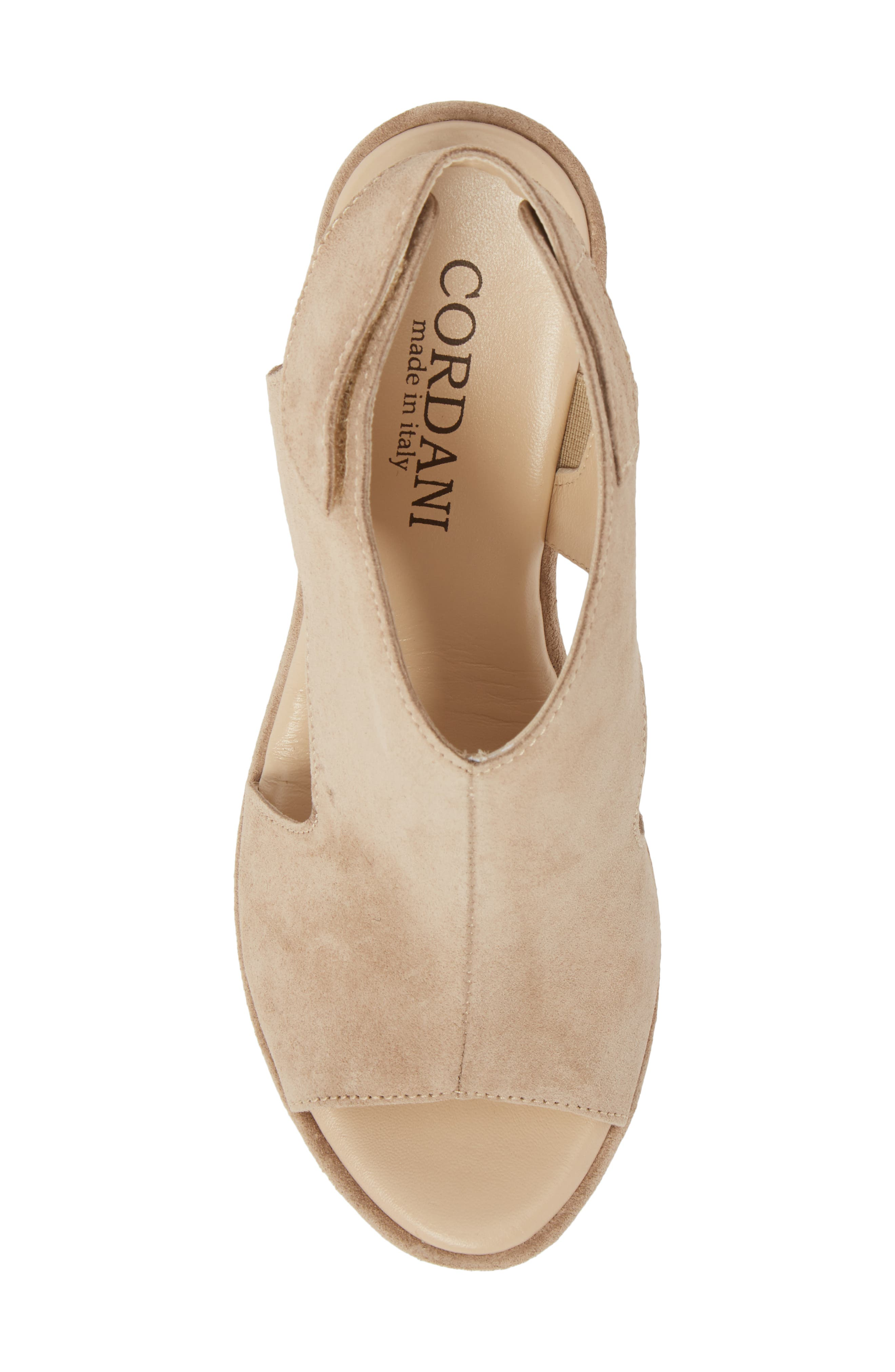Reed Wedge Sandal,                             Alternate thumbnail 5, color,                             Corda Taupe Suede