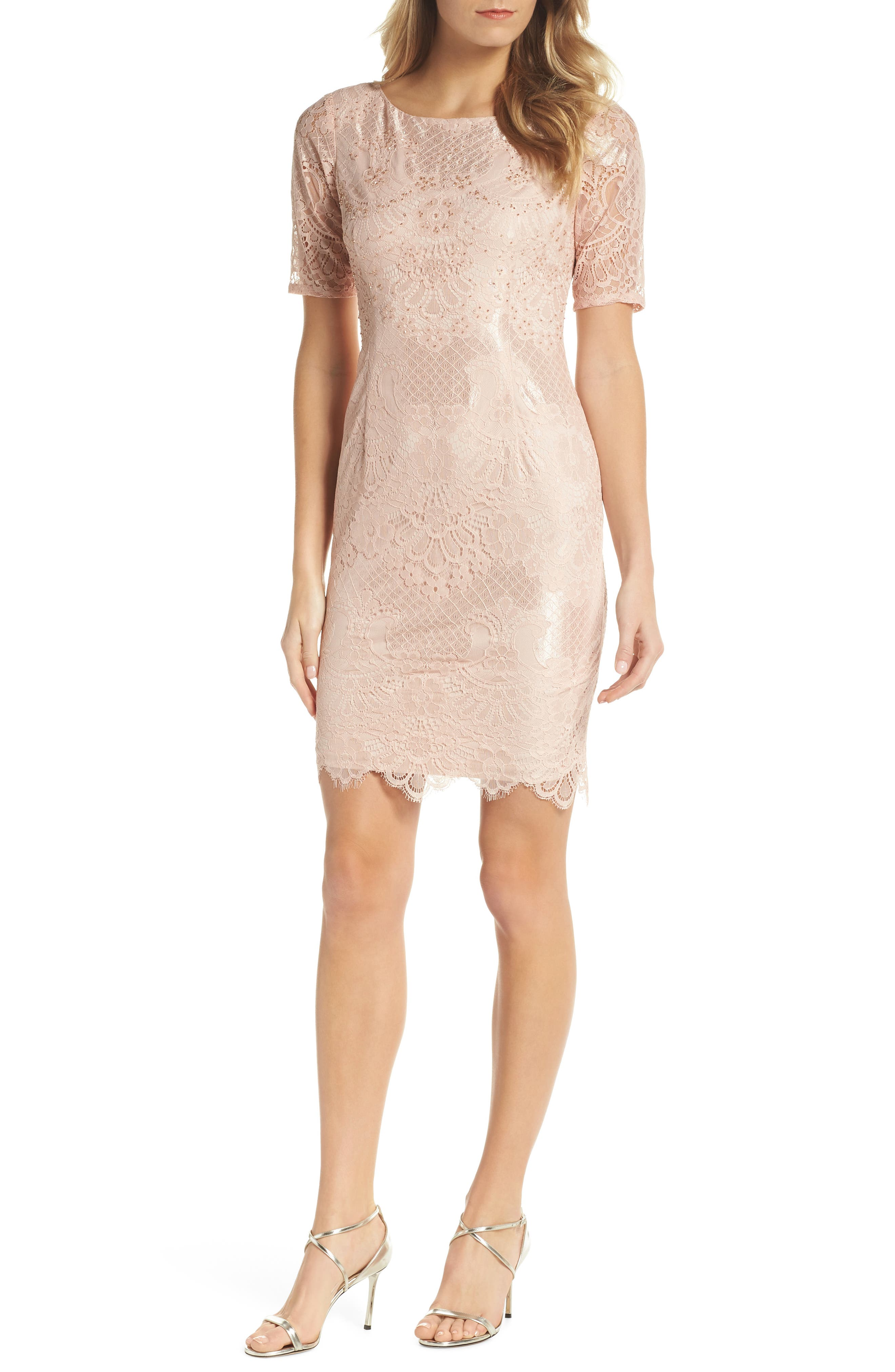Lace Sheath Dress,                             Main thumbnail 1, color,                             Blush