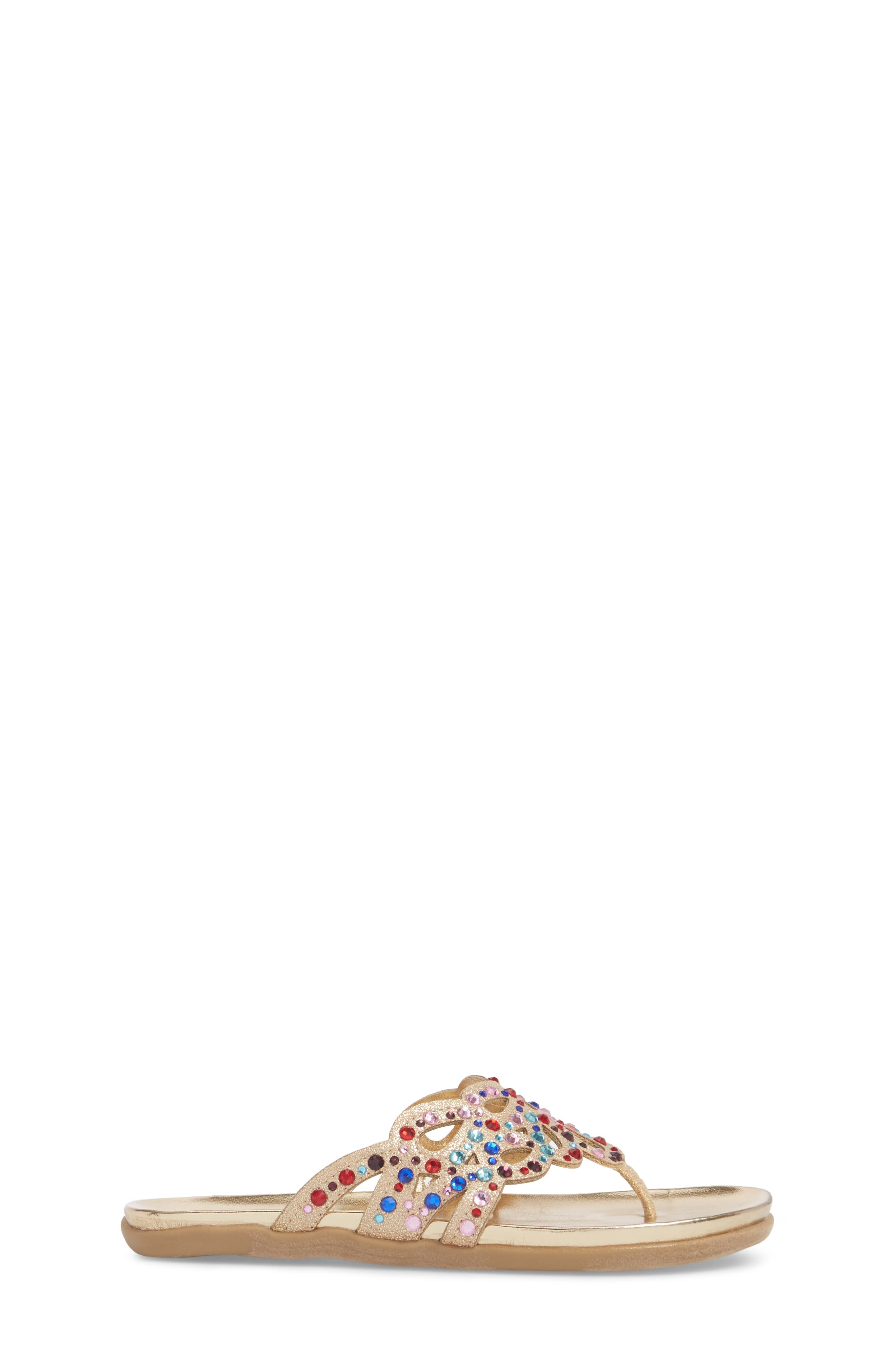 Kenneth Cole New York Flutter Metallic Crystal Thong Sandal,                             Alternate thumbnail 3, color,                             Gold Multi