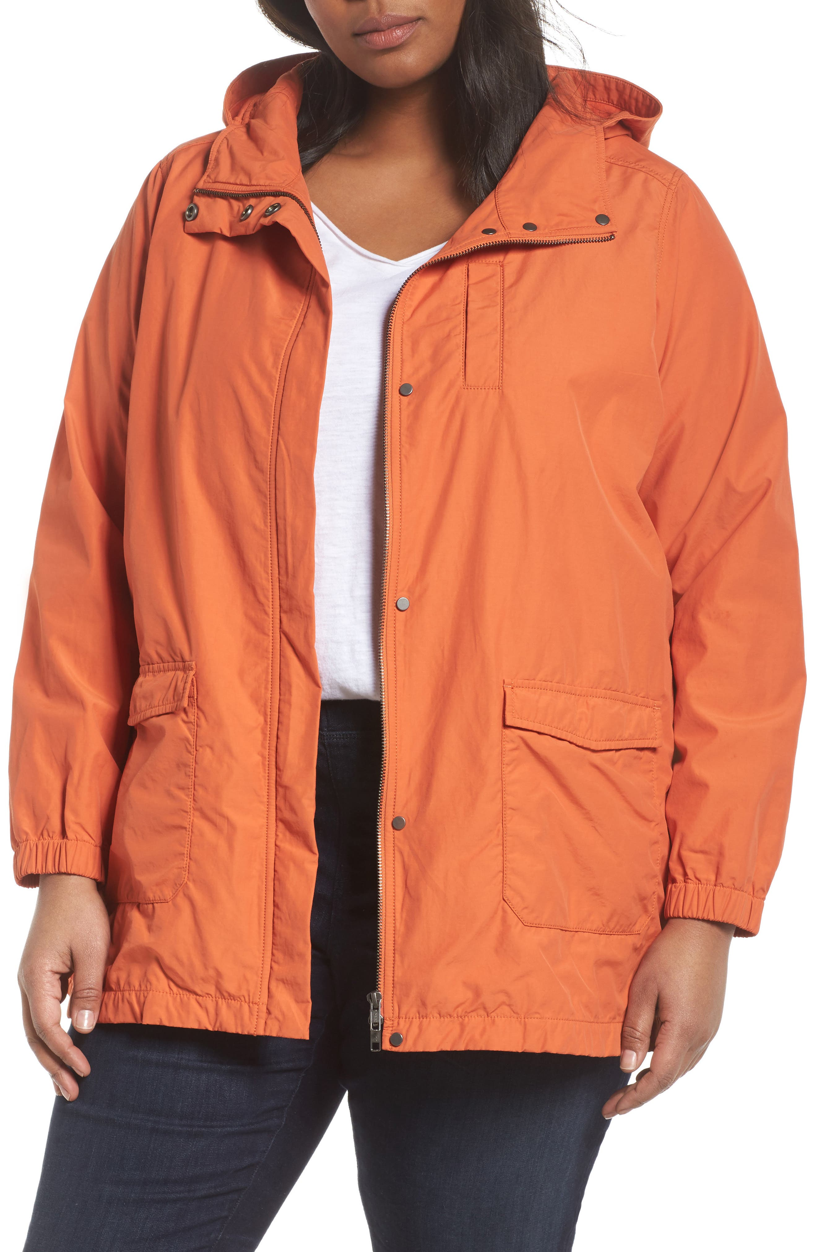 Hooded Organic Cotton Blend Jacket,                         Main,                         color, Tiger